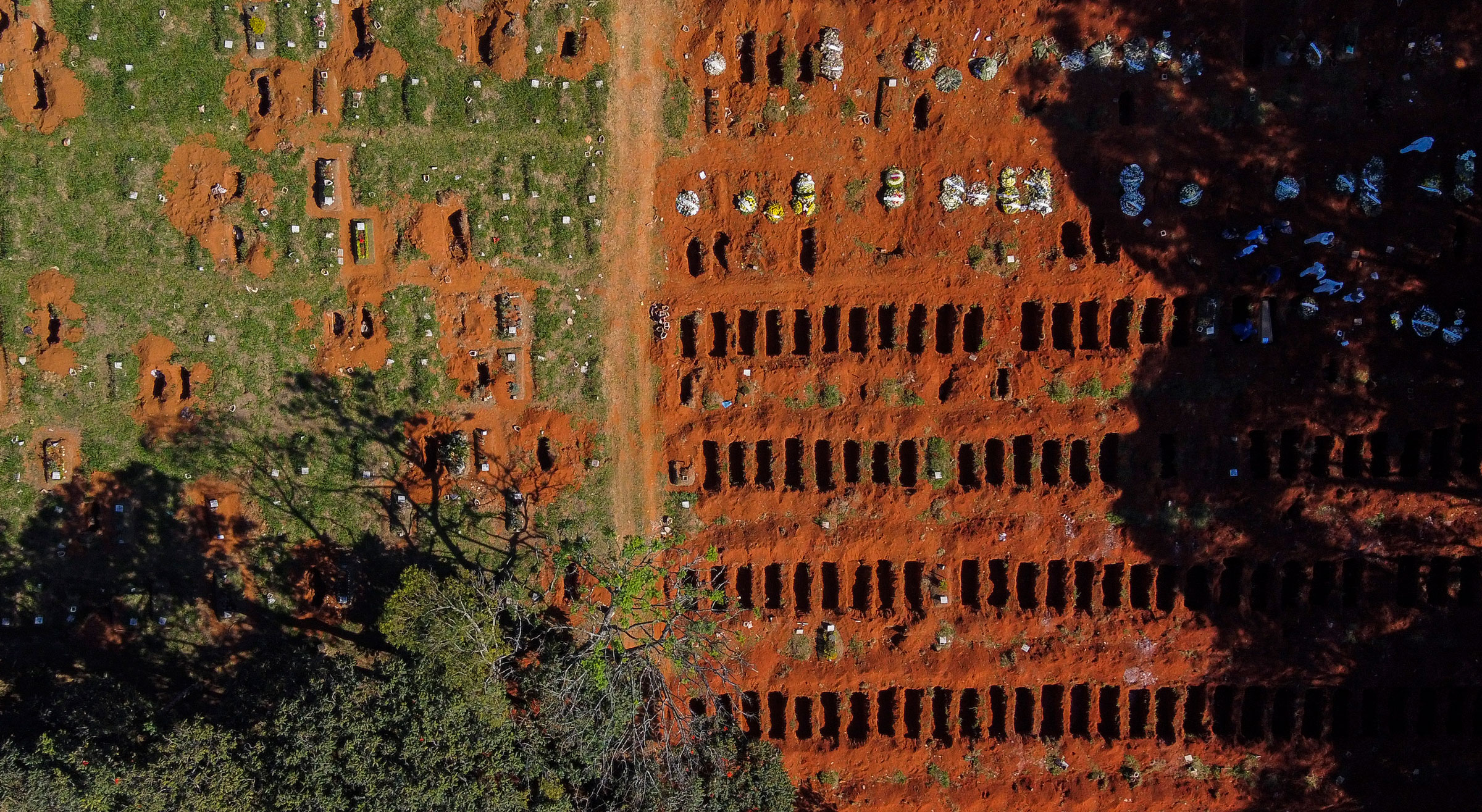 This aerial photo shows freshly dug graves at the Vila Formosa cemetery in Sao Paulo, Brazil, on Sunday.