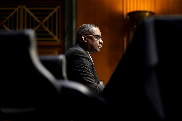 Secretary of Defense nominee Lloyd Austin, a recently retired Army general, listens during his conformation hearing before the Senate Armed Services Committee on Capitol Hill, Tuesday, Jan. 19, 2021, in Washington.