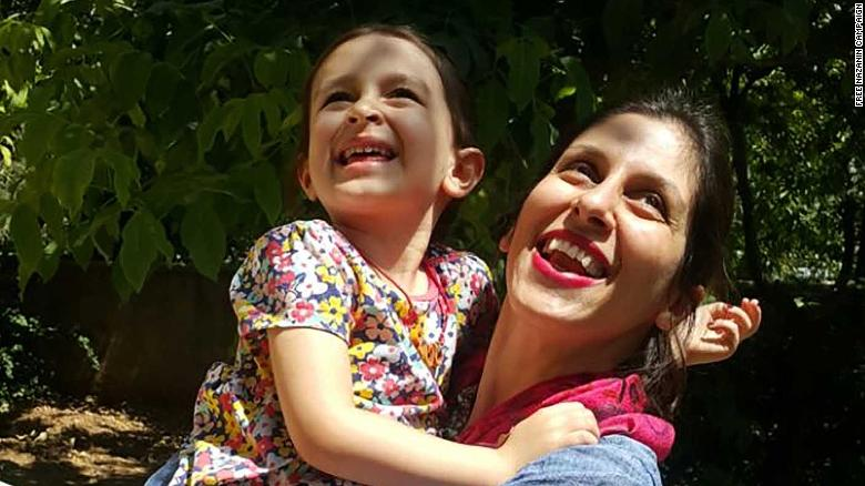 Nazanin Zaghari-Radcliffe is seen with her daughter, Gabriella, in Damavand, east of Tehran, during a temporary release from Evin prison in August 2018.