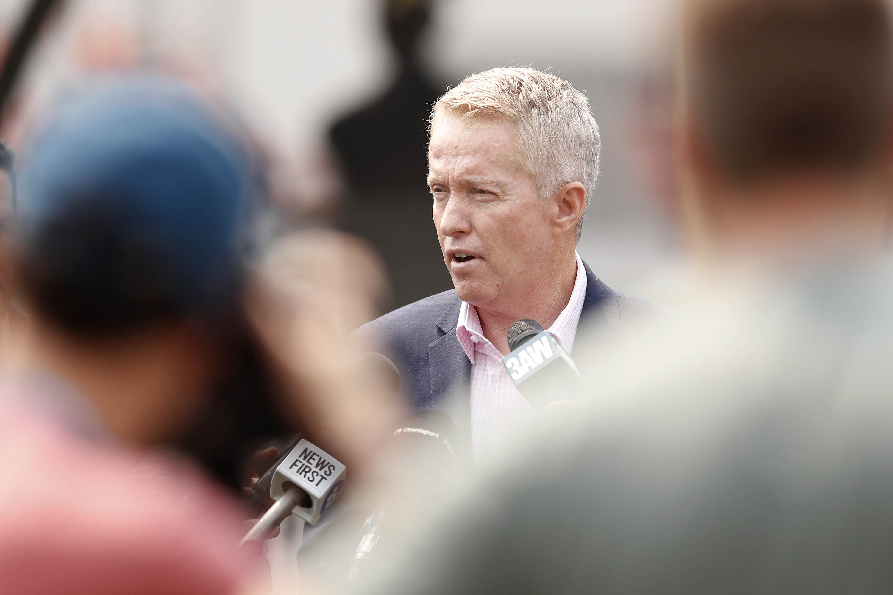 Australian Open Tournament Director Craig Tiley is pictured speaking to the media in January 2020, in Melbourne, Australia.