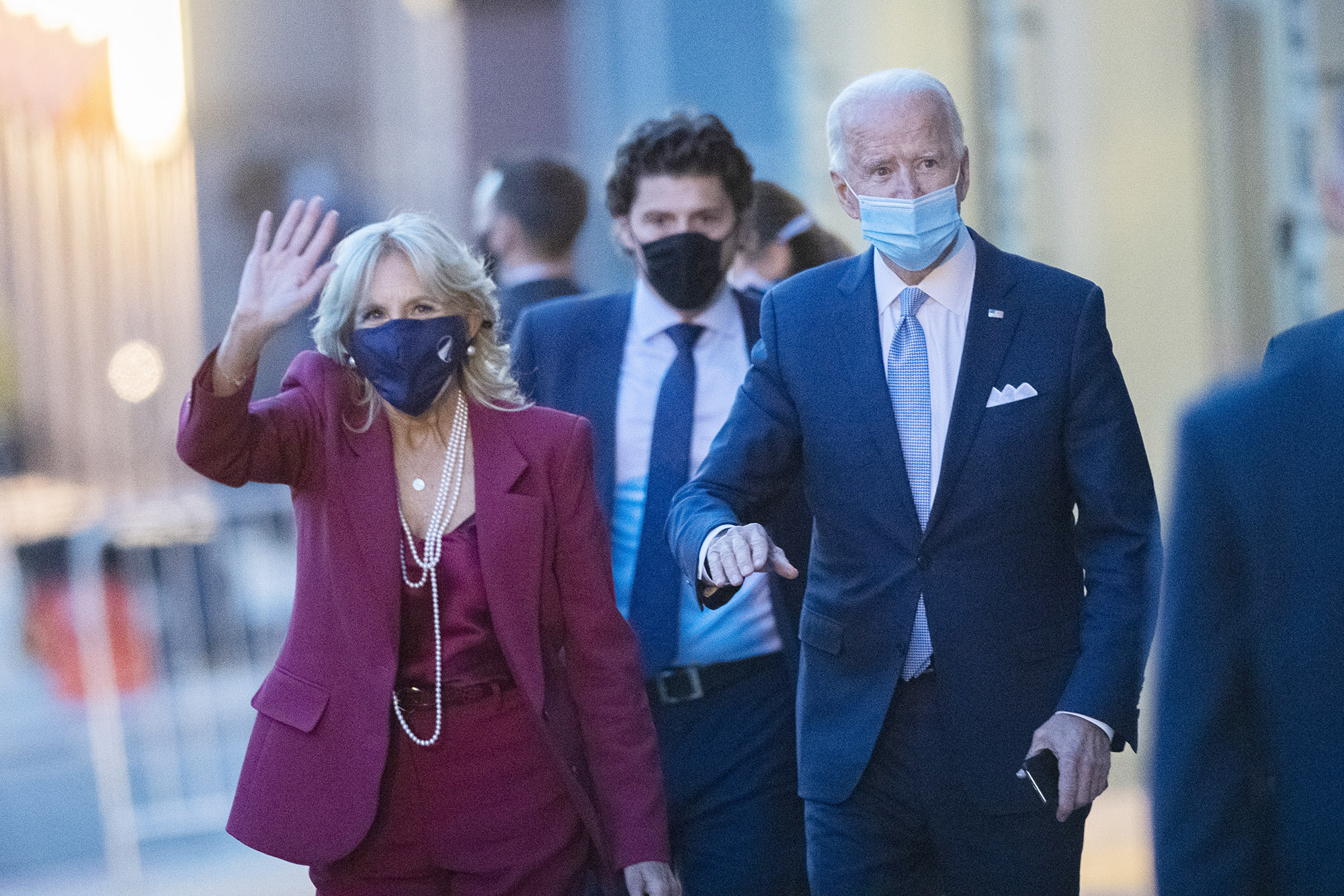 President-elect Joe Biden, and his wife, Dr. Jill Biden, depart the Queen Theater after introducing key foreign policy and national security nominees and appointments on November 24, in Wilmington, Delaware.
