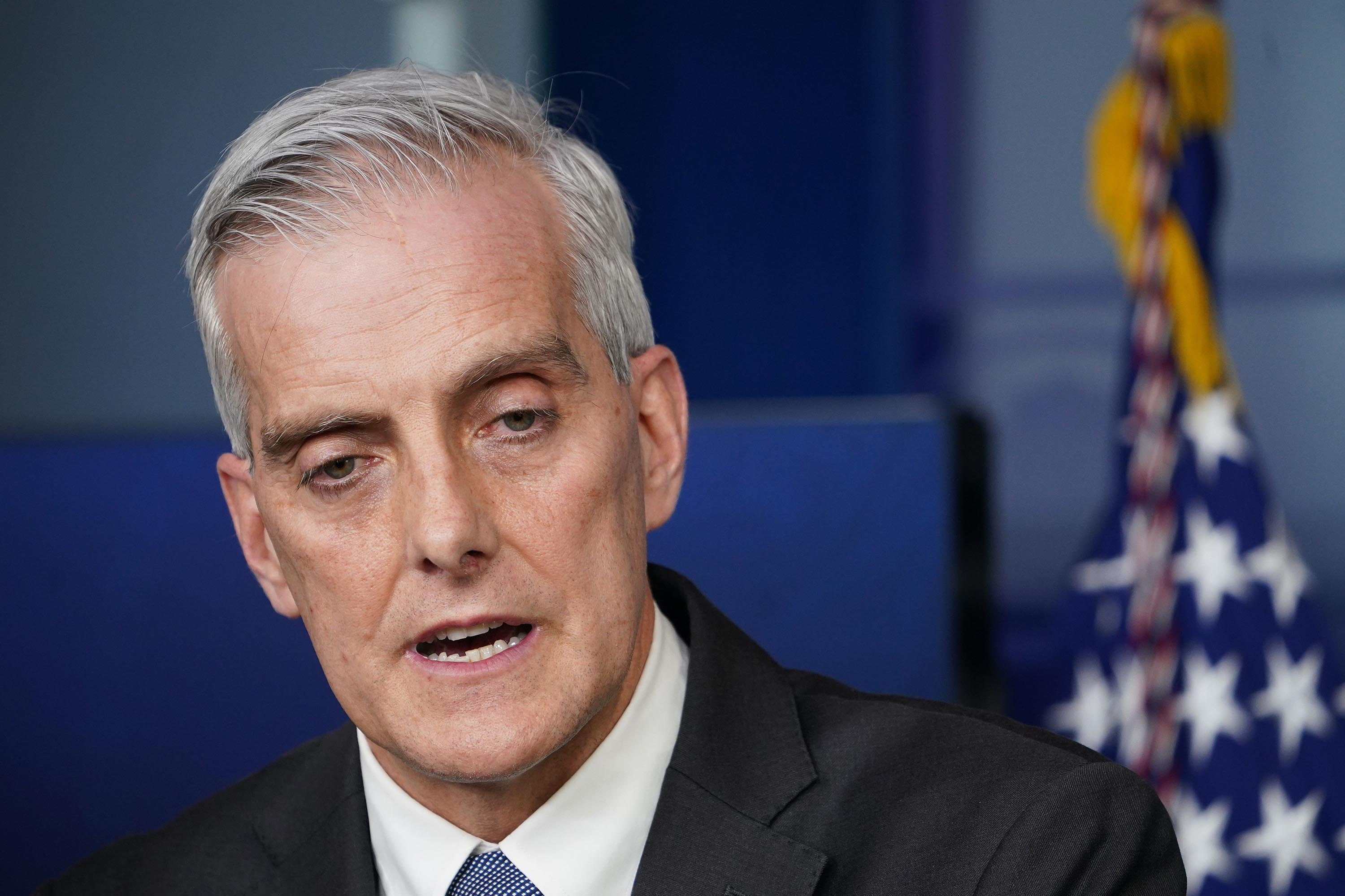 US Veterans Affairs Secretary Denis McDonough speaks during a press briefing on March 4, 2021 at the White House.