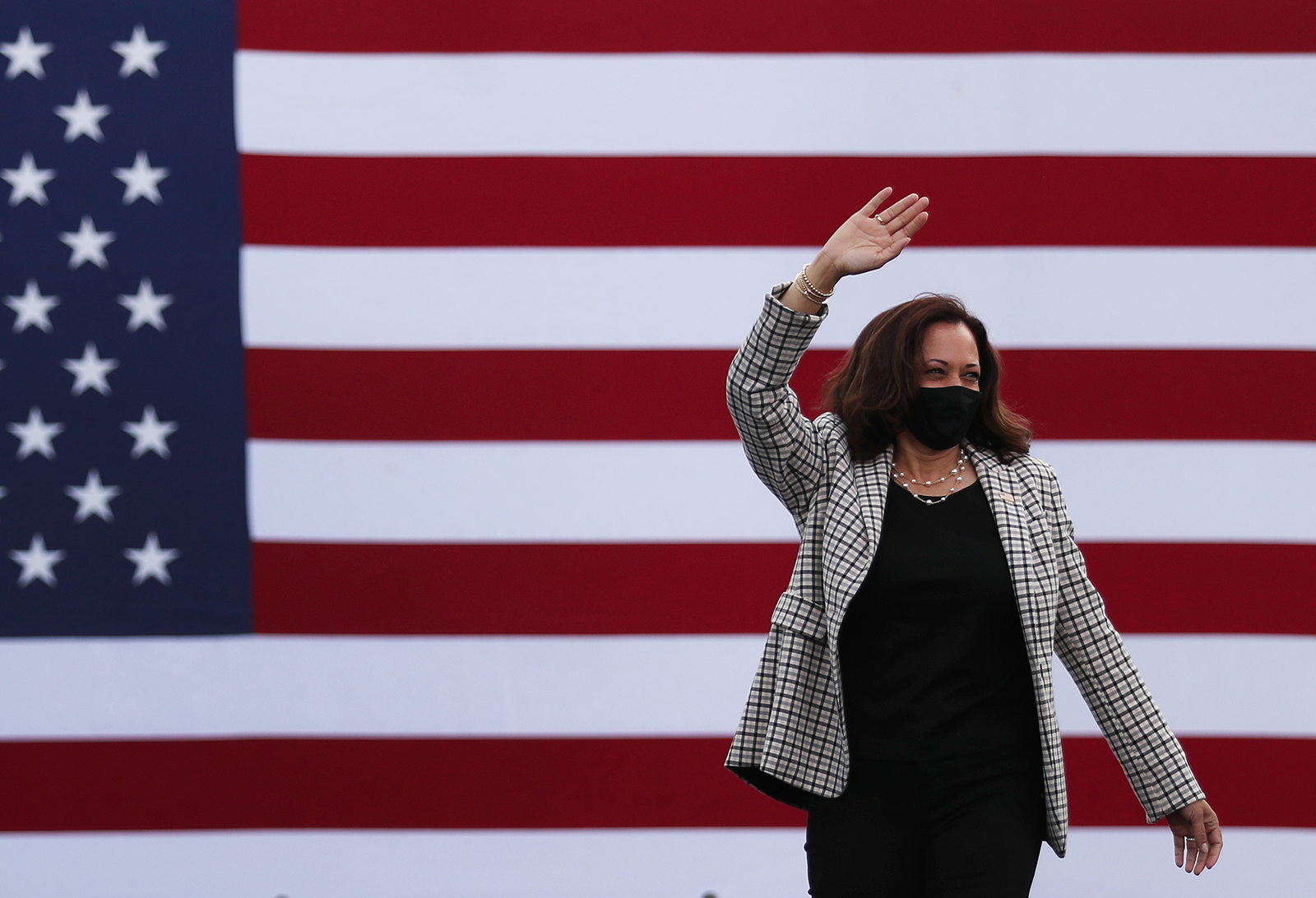 Democratic Vice Presidential Nominee Sen. Kamala Harris makes a campaign stop at the Palm Beach State College on October 31, in Lake Worth, Florida.