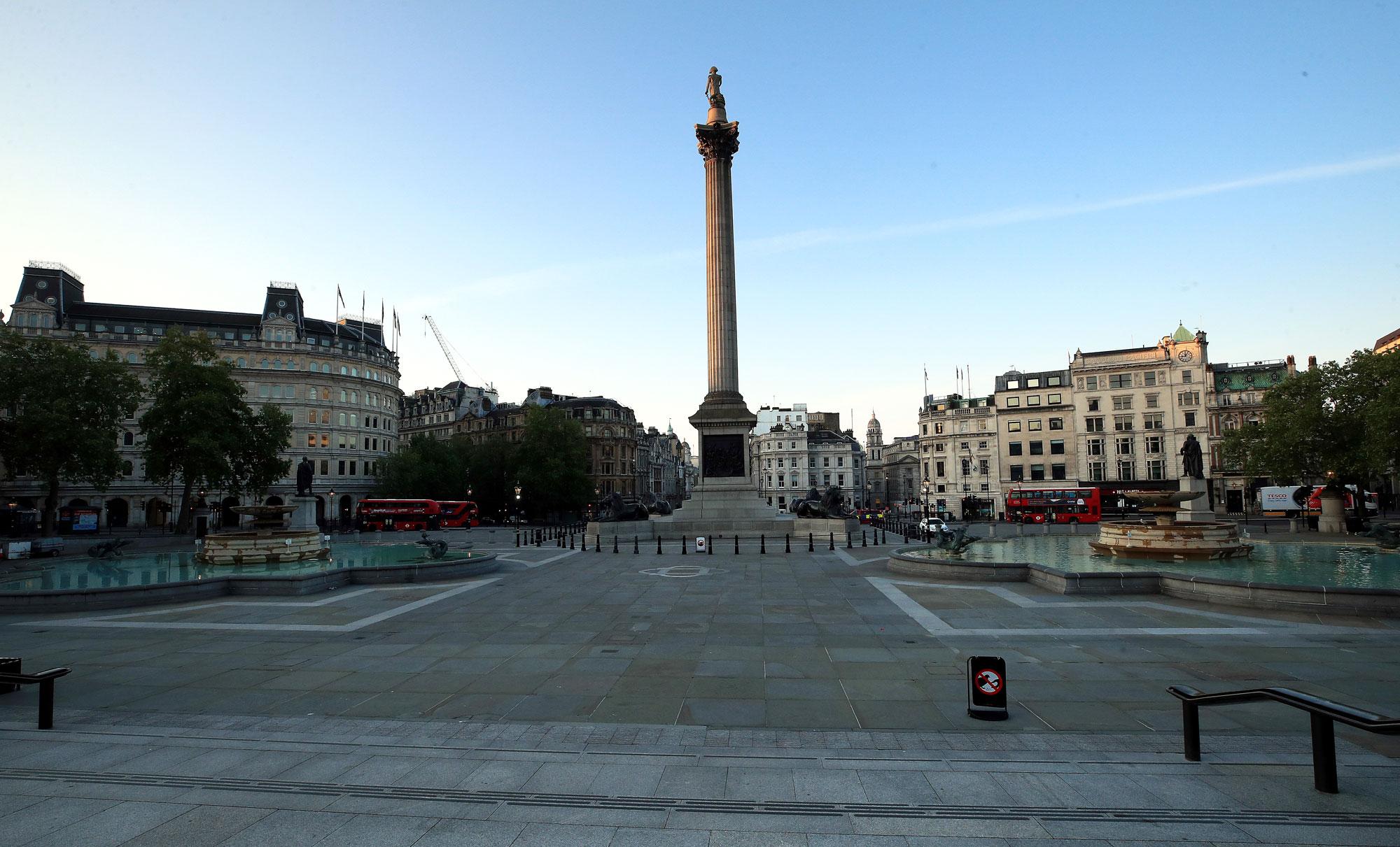 Trafalgar Square is empty on May 7, in London.