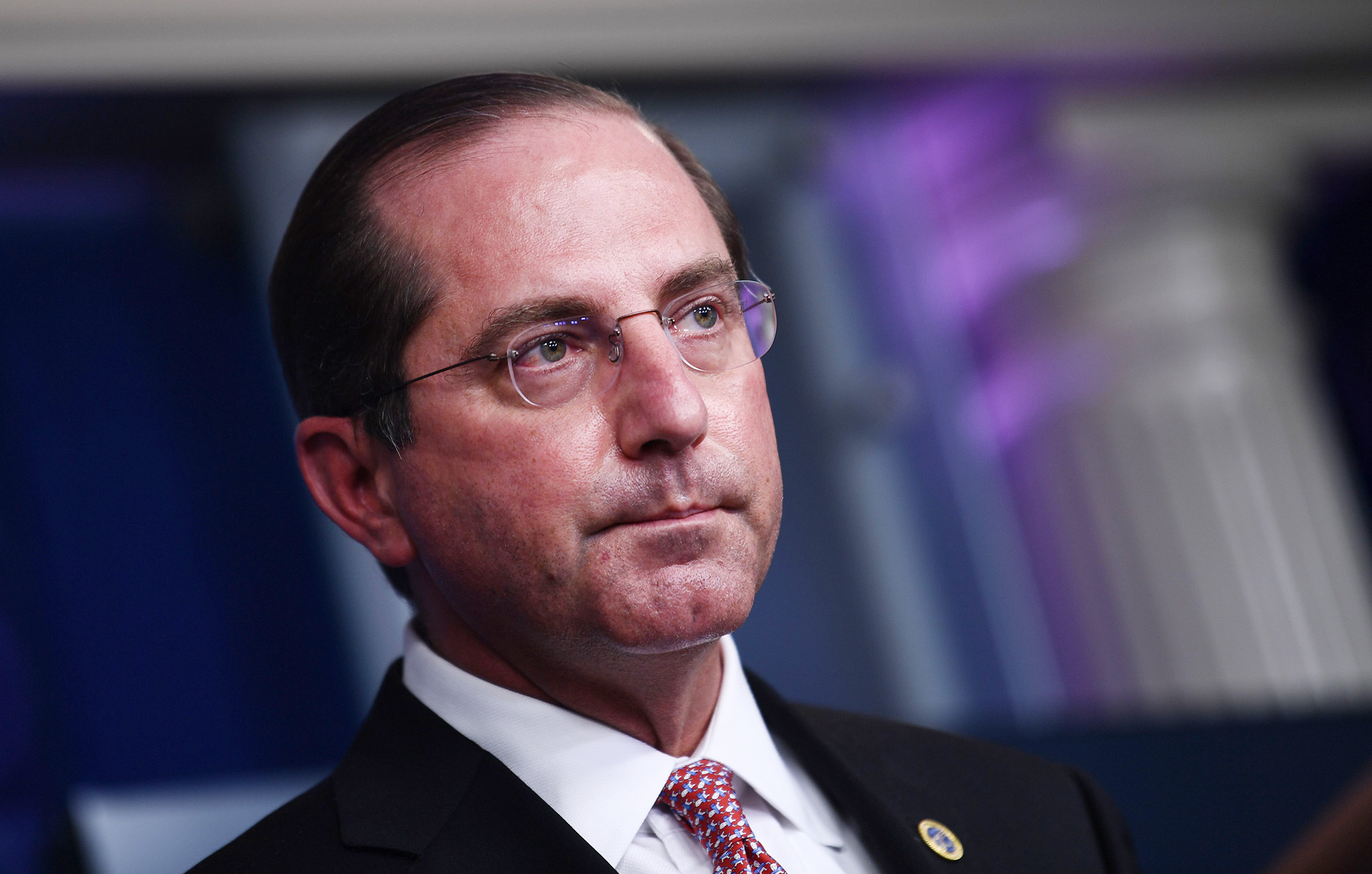 U.S. Secretary of Health and Human Services Alex Azar speaks during a press briefing at the White House in Washington DC, on November 19.