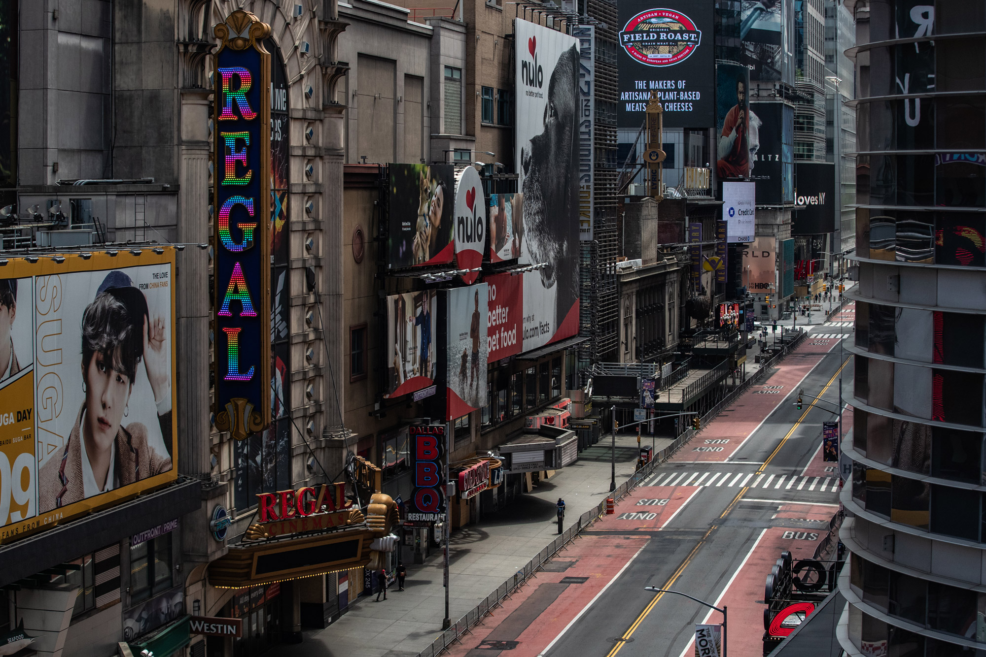 A nearly empty street is seen in Times Square in New York on June 11.