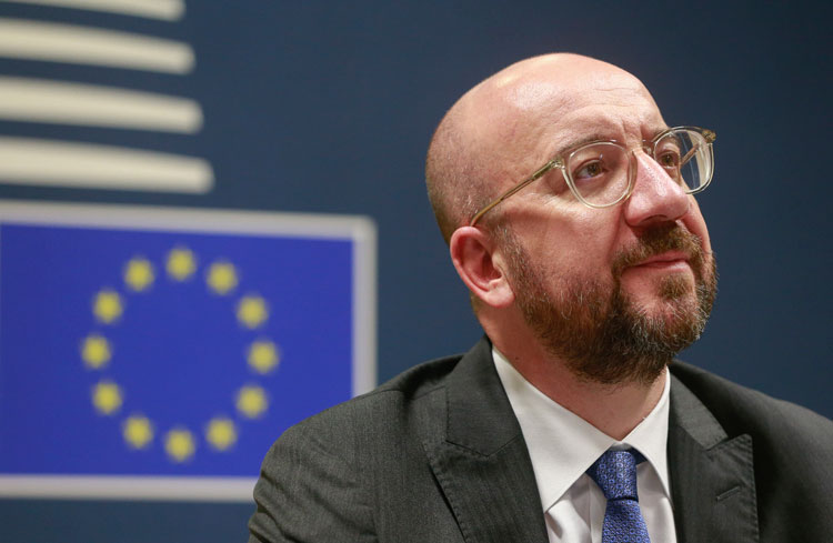 European Council President Charles Michel participates in a videoconference call with EU leaders at the European Council building in Brussels, Tuesday, March 10.