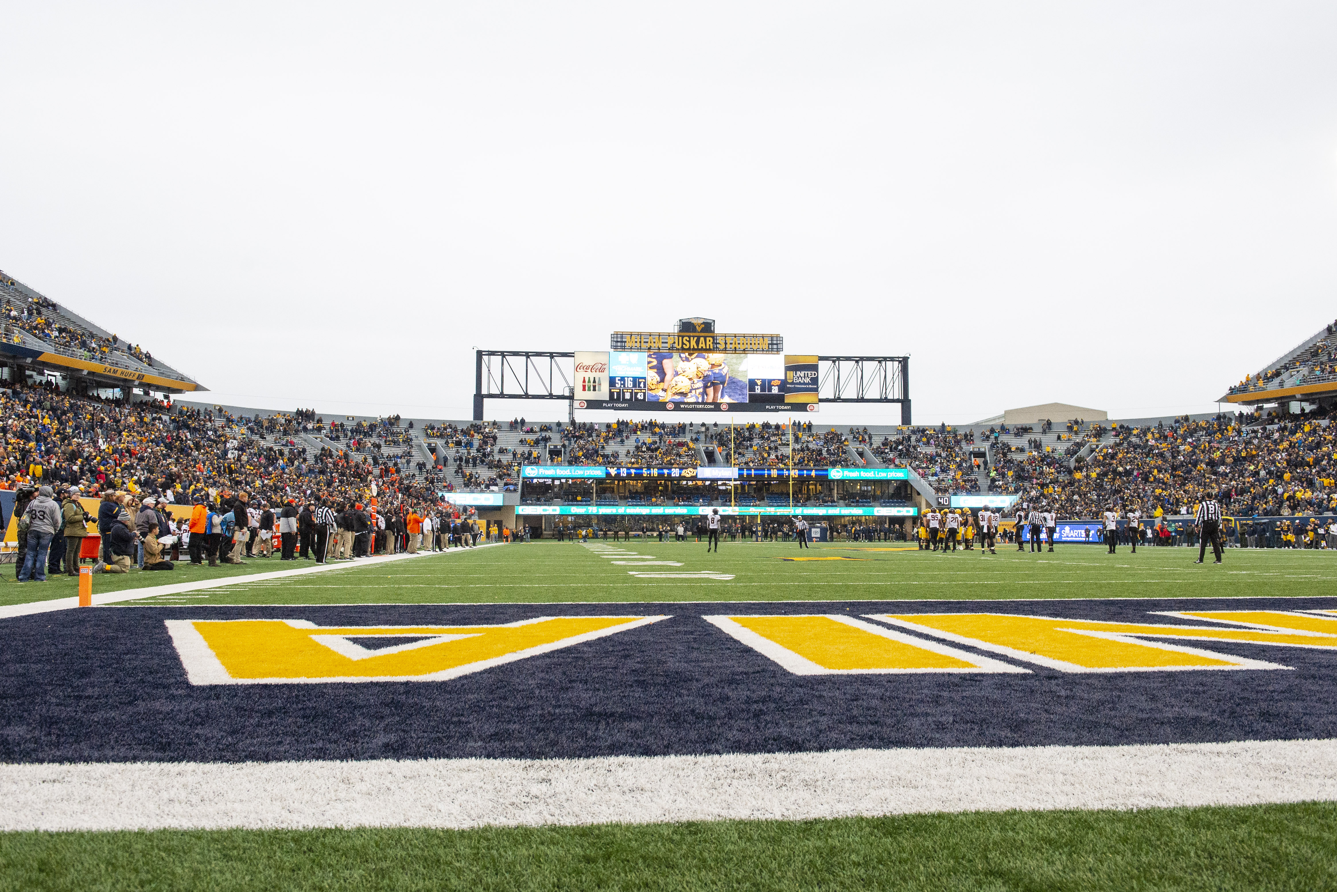 A view of Milan Puskar Stadium during a college football game between the Oklahoma Cowboys and the West Virginia Mountaineers on November 23, 2019.