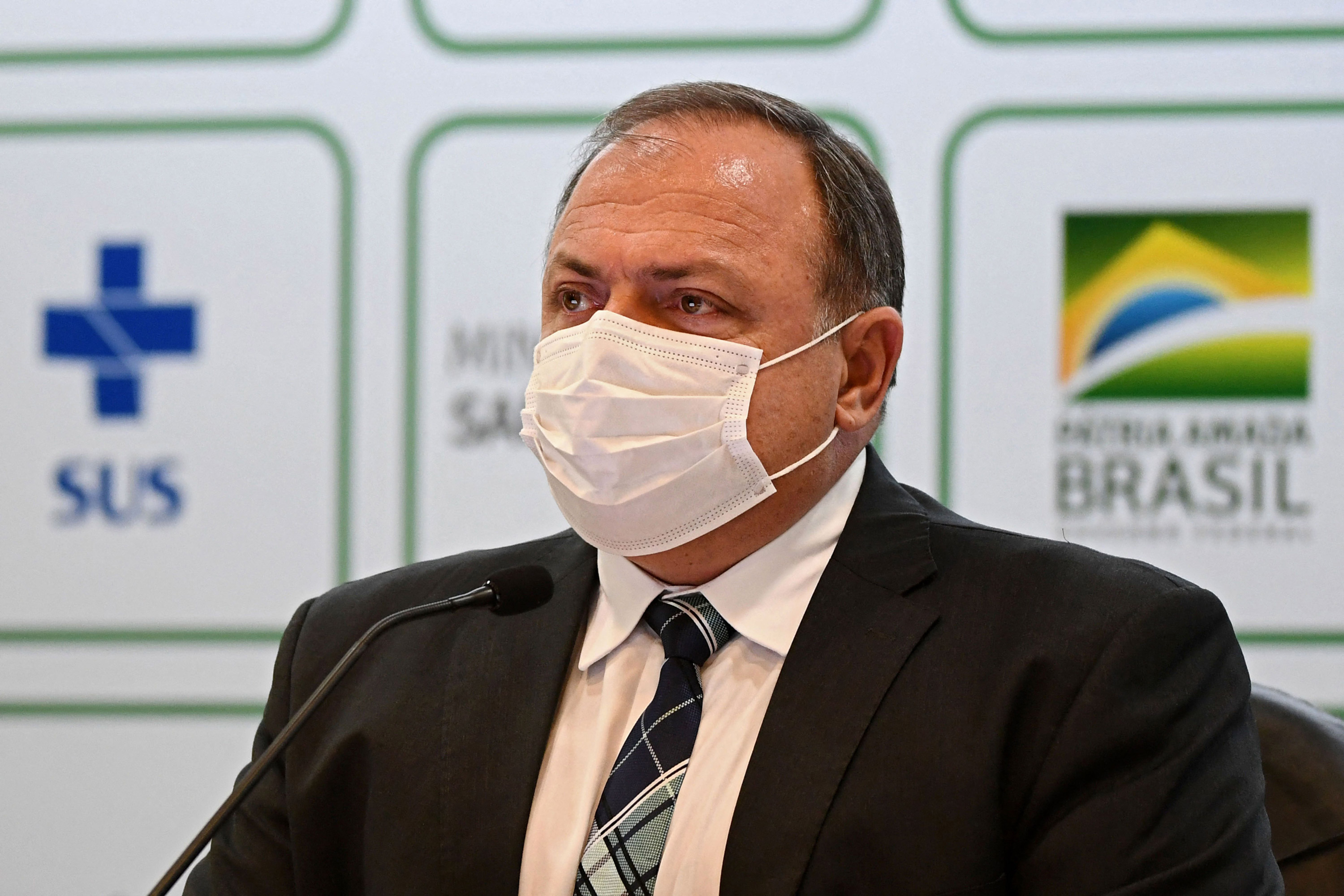 Brazilian Health Minister Eduardo Pazuello speaks during a press conference in Brasilia on March 15.