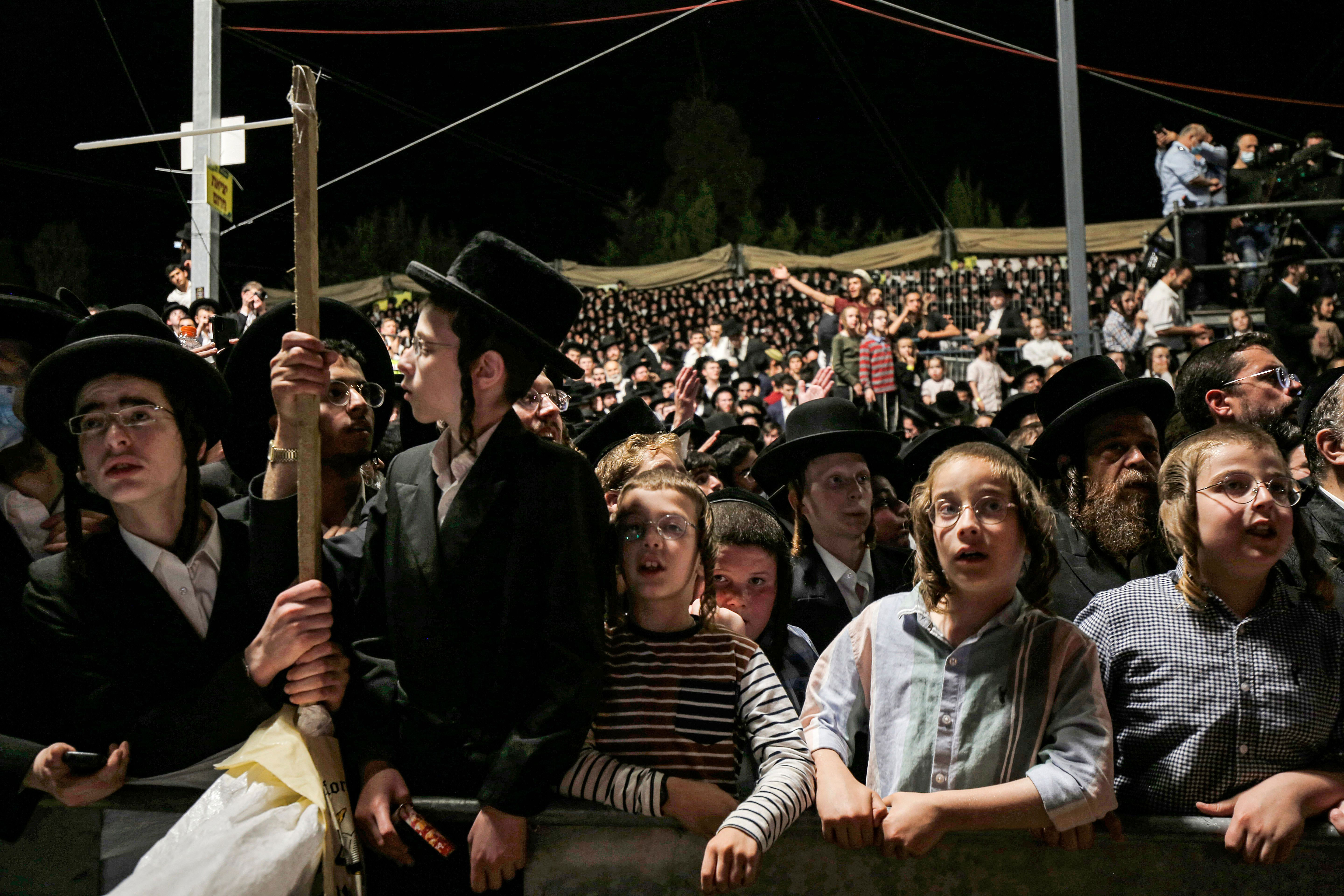 Ultra-Orthodox Jews gather at the site where RabbiShimon Bar Yochai is thought to be buried at Mount Meron in northern Israel on Thursday night.