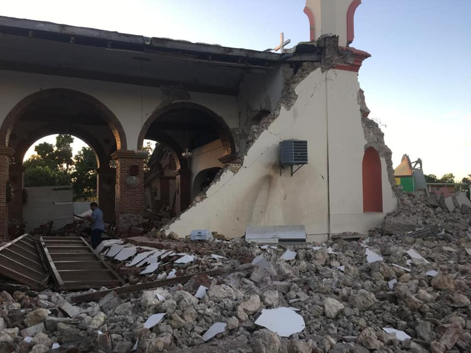 Tuesday morning's earthquake damaged the Inmaculada Concepción church in Guayanilla, Puerto Rico.
