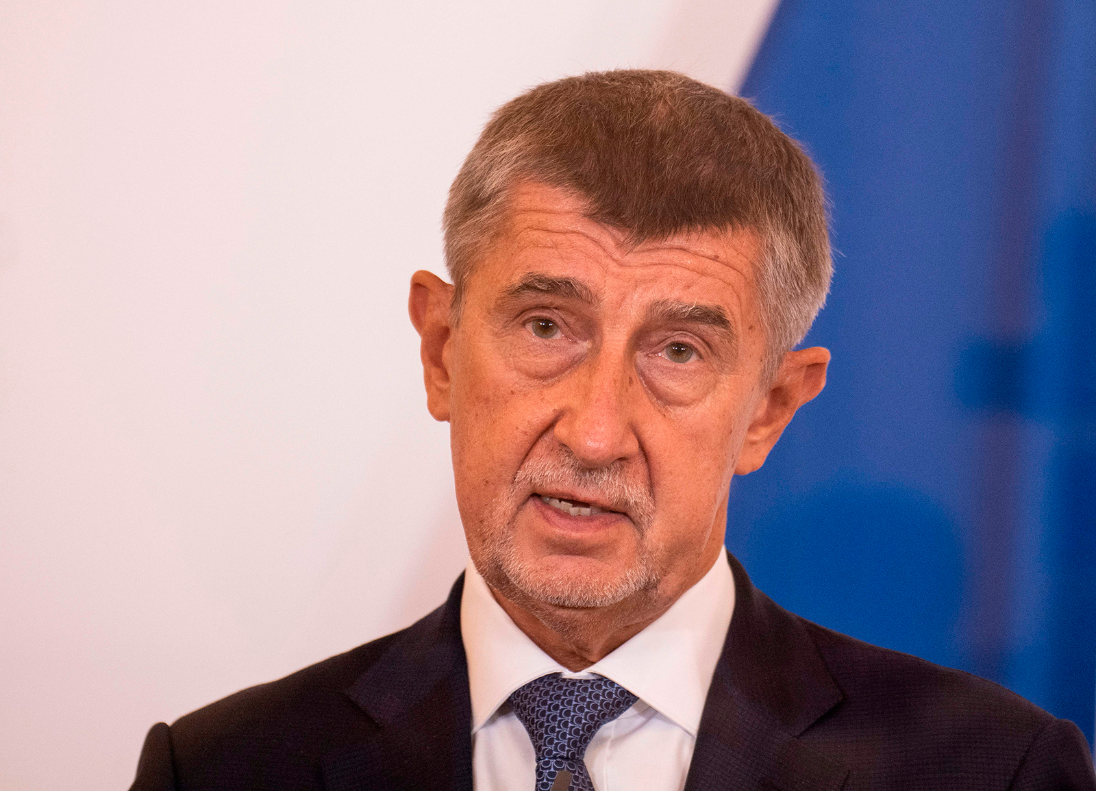 Czech Prime minister Andrej Babis speaks during a news conference at the Austrian chancellery in Vienna, Austria, on September 9.