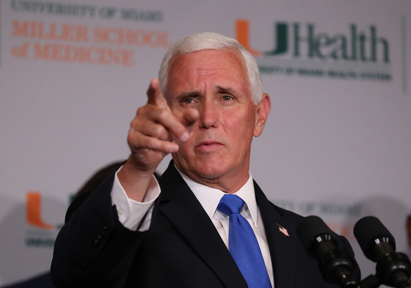 Vice President Mike Pence speaks during a press conference at the the University of Miami Miller School of Medicine on July 27 in Miami.