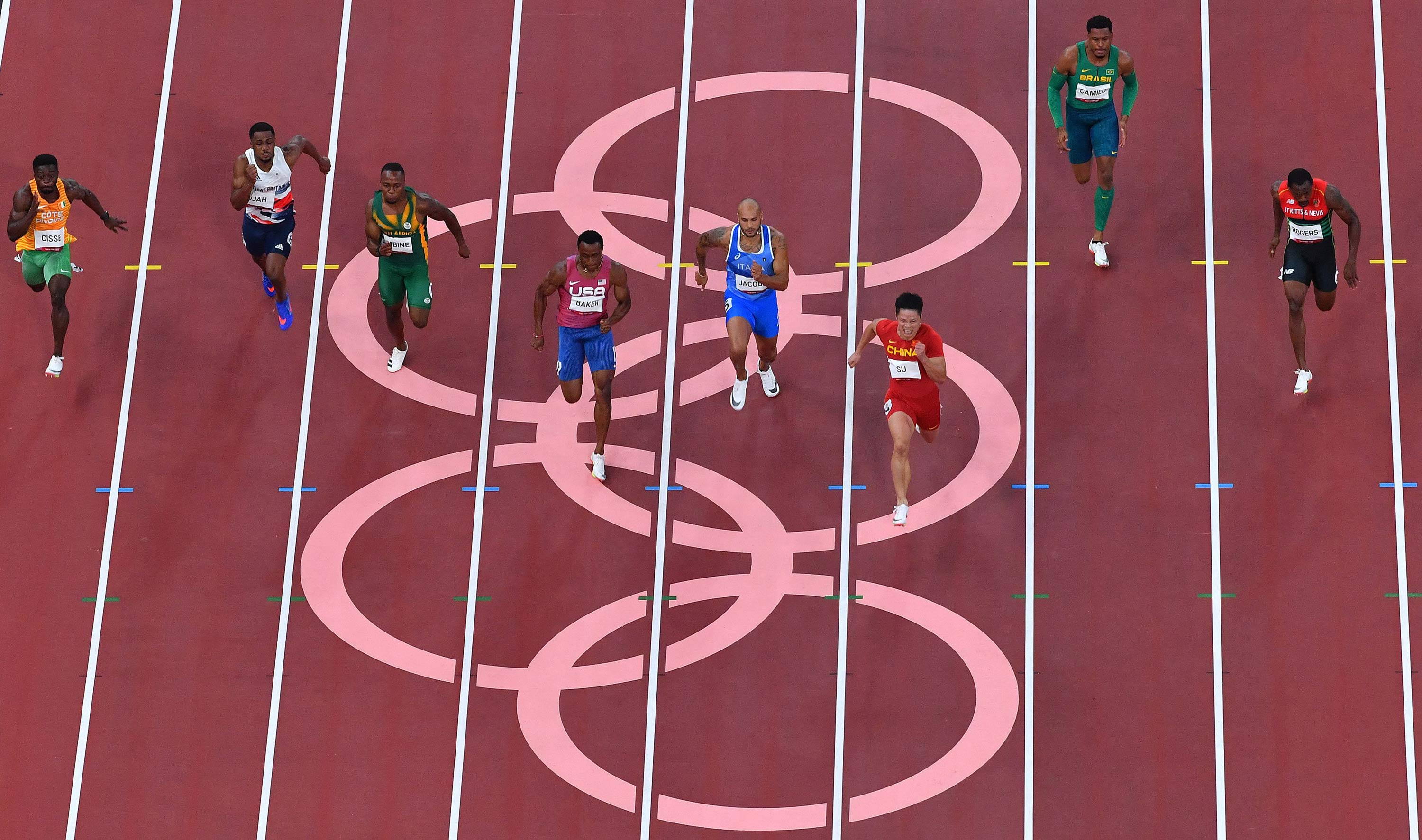 Runners compete in the 100m semifinals on August 1.