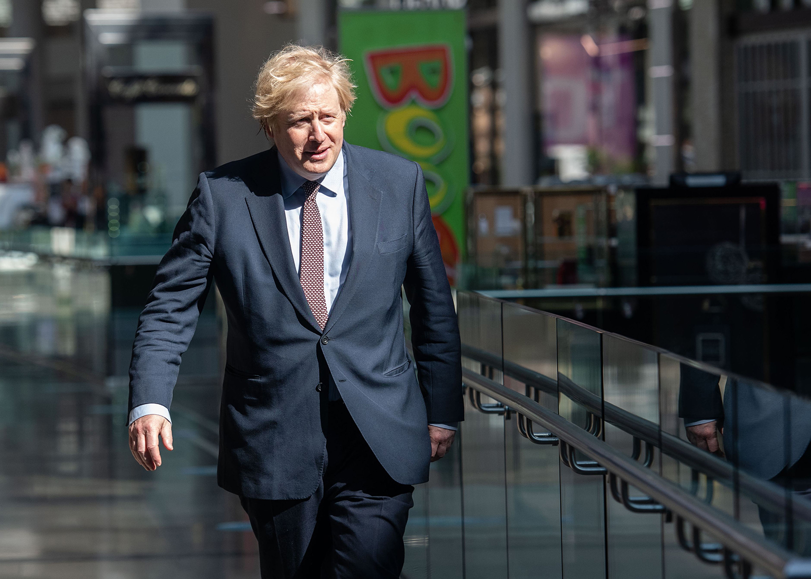 Britain's Prime Minister Boris Johnson visits Westfield shopping centre in east London on June 14.
