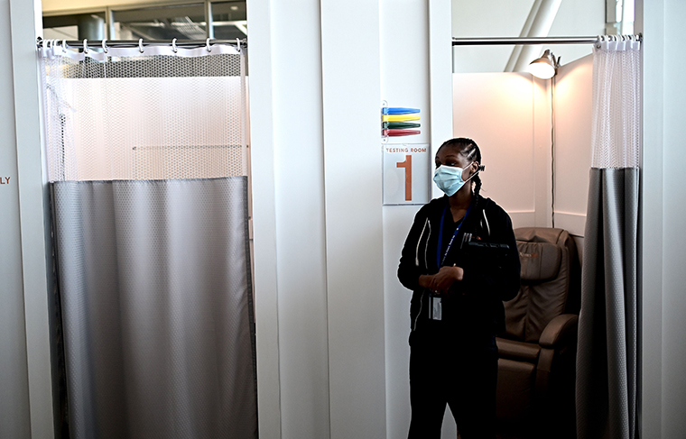A nurse is waiting for patients at JFK International Airports Terminal 4 XpresCheck, the first airport-based covid-19 testing facility in the US on June 29, 2020 in New York City.