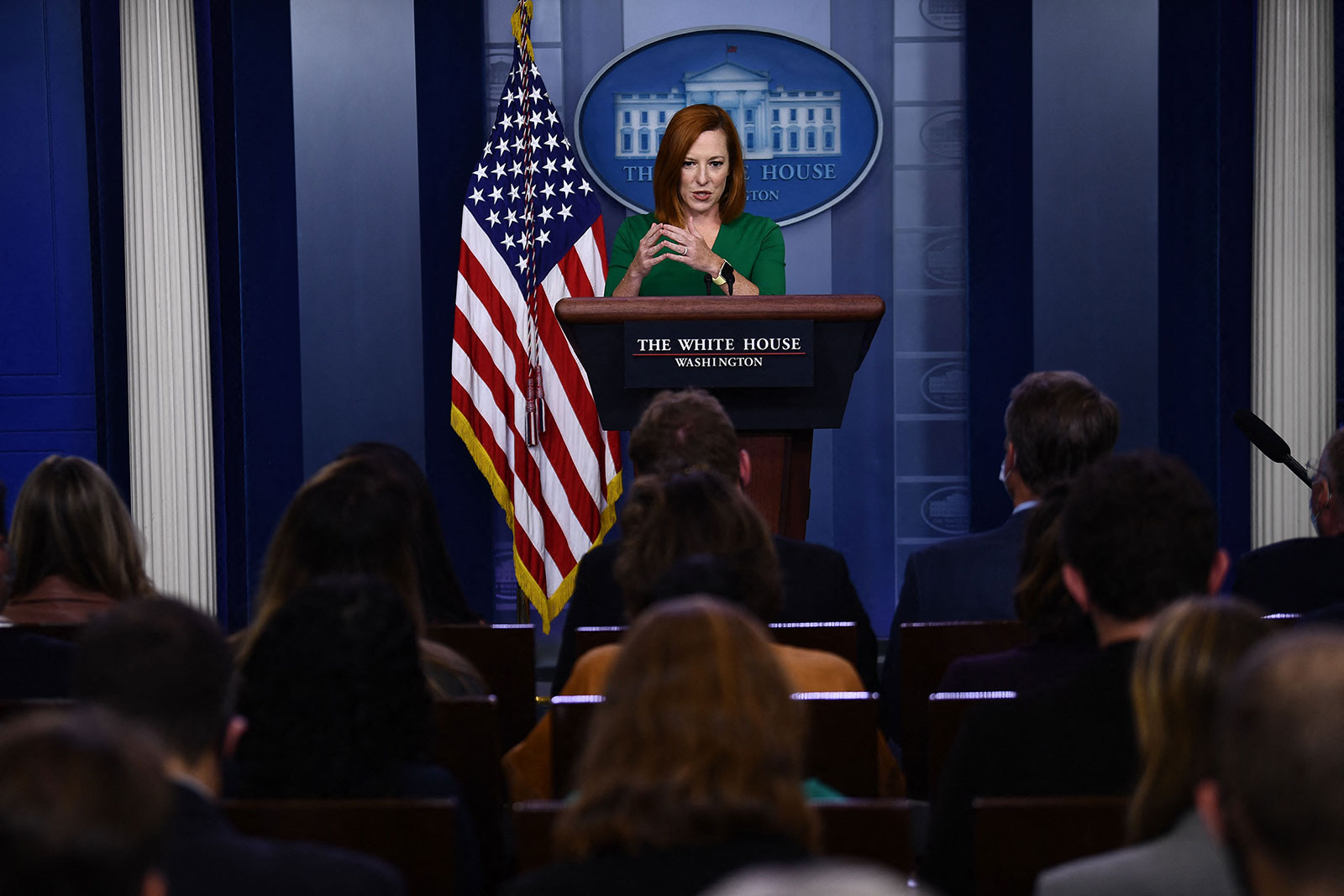 White House press secretary Jen Psaki answers questions during a press briefing on September 29.