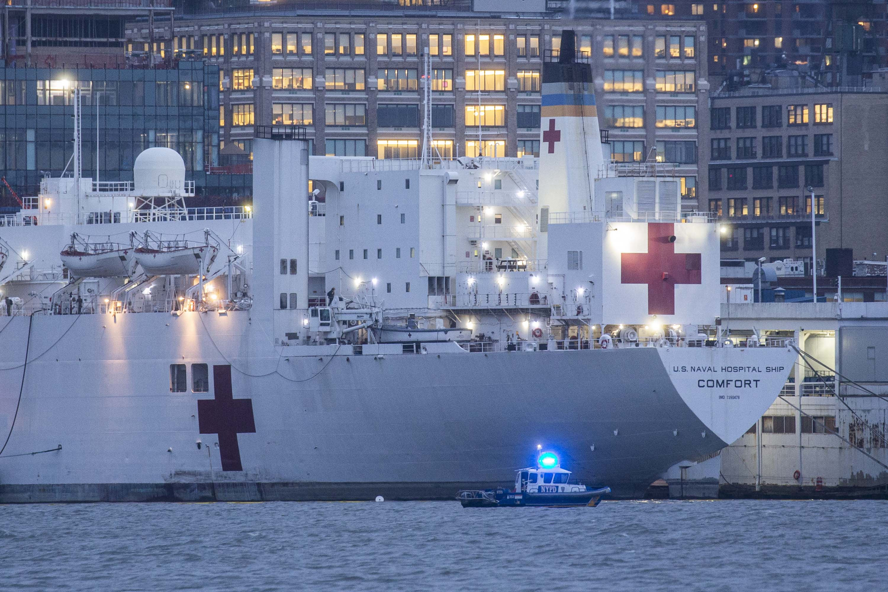 The USNS Comfort navy hospital ship is seen docked at Pier 90 in New York City on April 3.