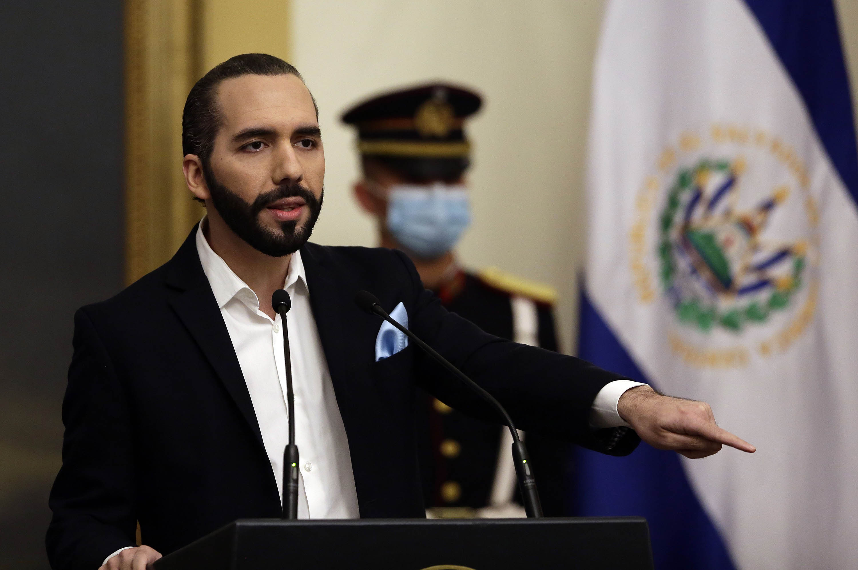 El Salvador's President Nayib Bukele speaks during a press conference in San Salvador, El Salvador, on September 24.