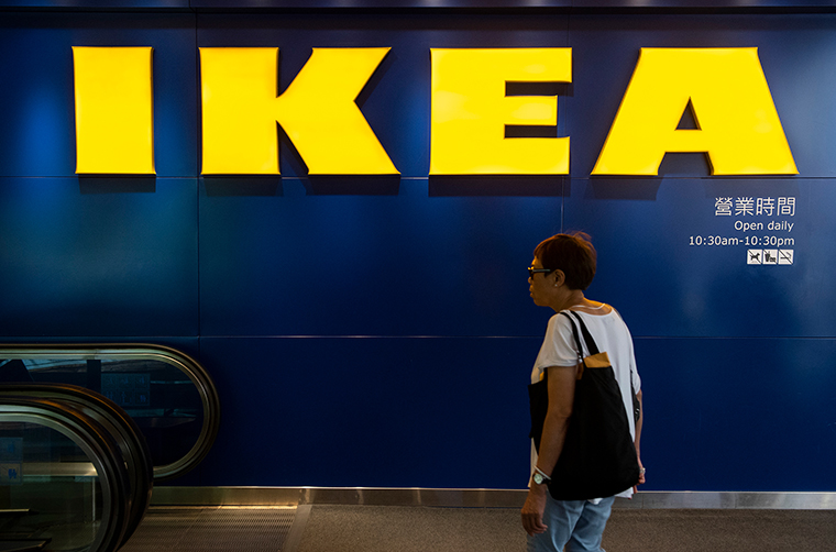 A customer enters an Ikea f store in Hong Kong on April 26, 2019.