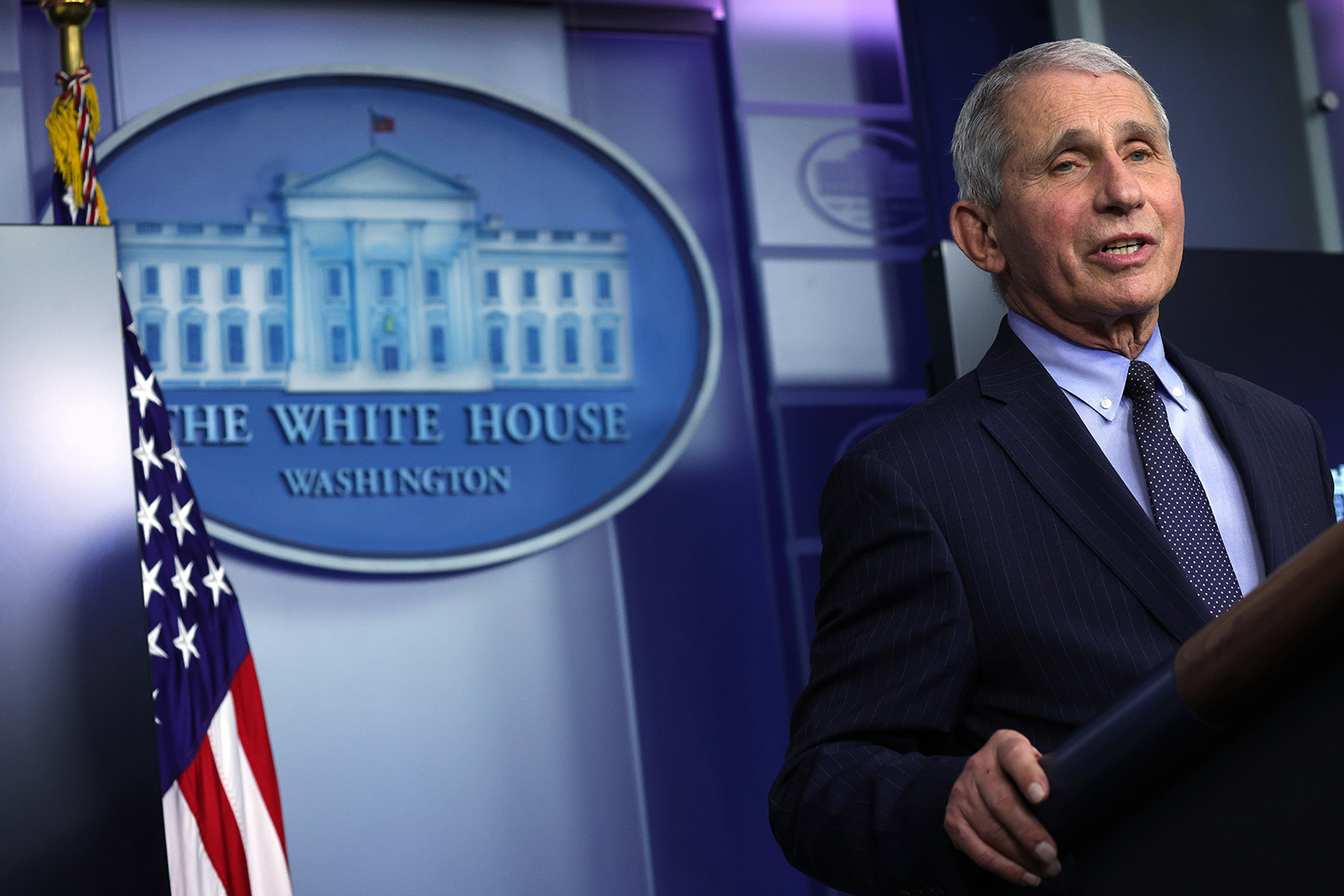 Dr. Anthony Fauci, director of the National Institute of Allergy and Infectious Diseases, speaks during a White House press briefing in Washington, D.C., on January 21.