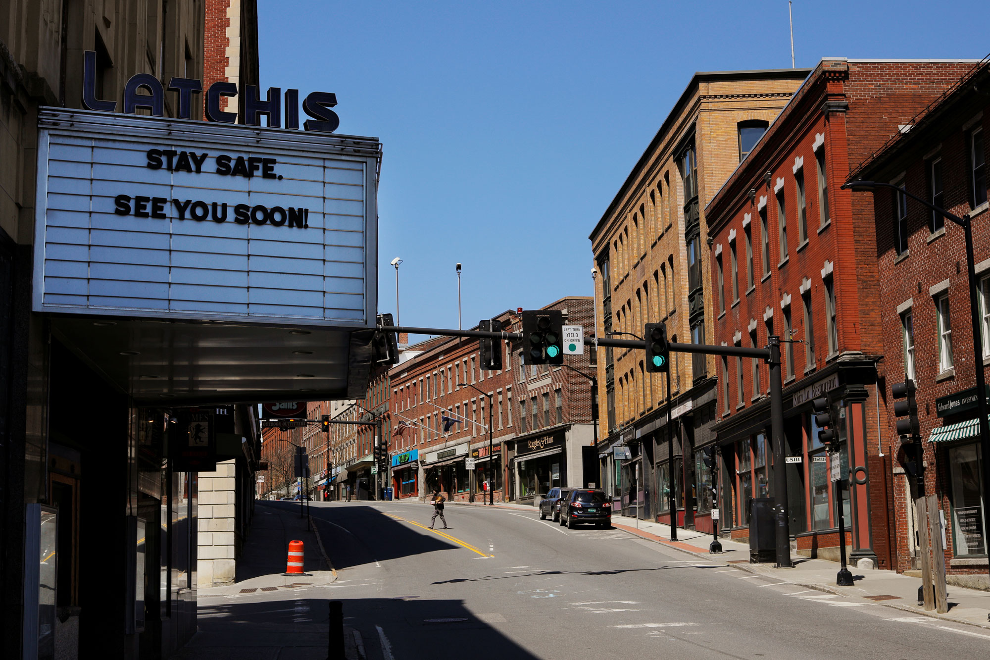 The downtown stands empty amid the coronavirus disease outbreak in Brattleboro, Vermont, on April 19.