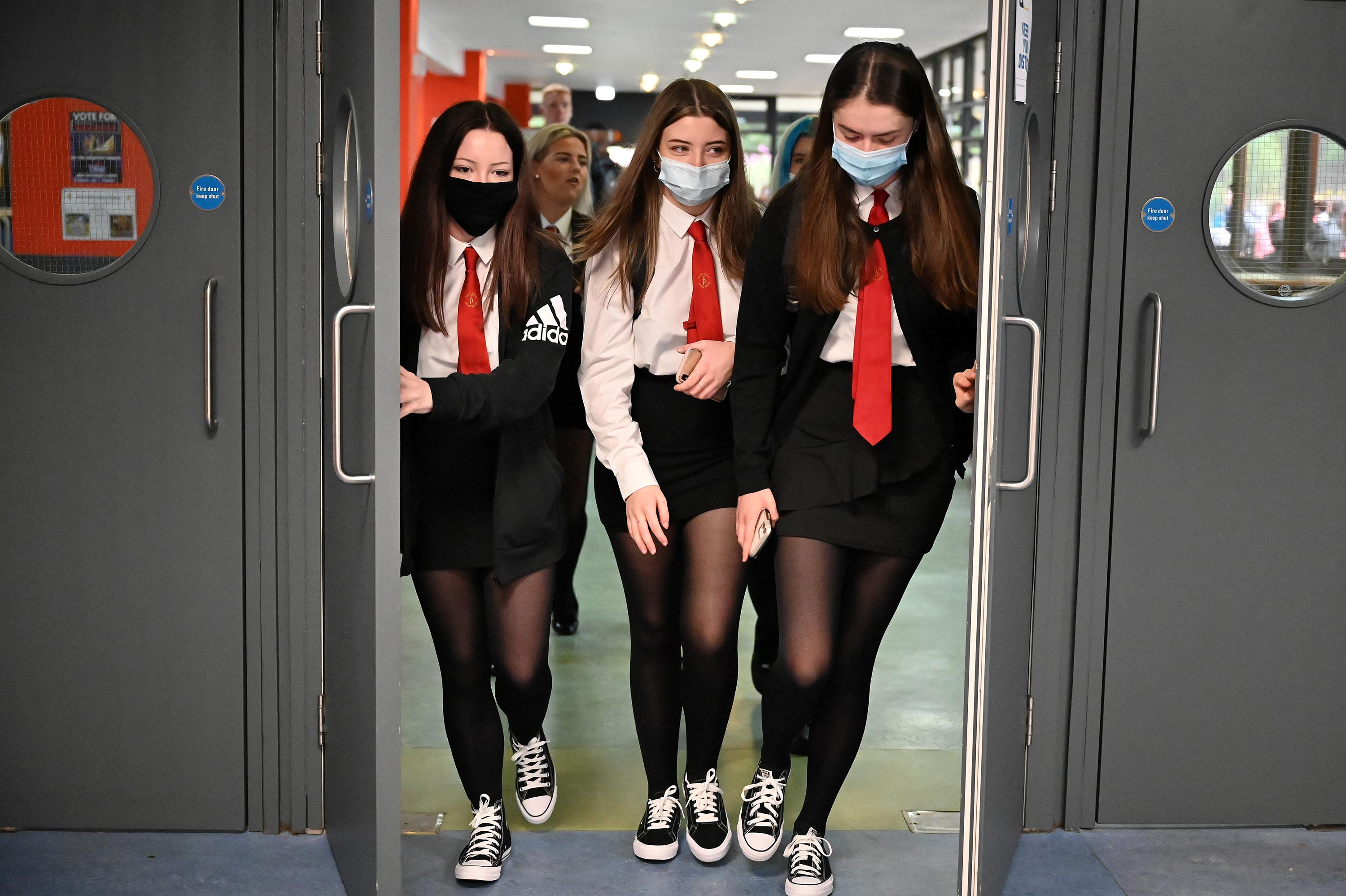 Pupils return to St Paul's High School in Glasgow, Scotland, on August 12, for the first time since the start of the coronavirus lockdown.
