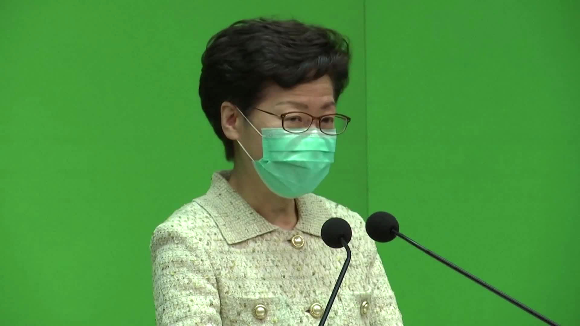 Hong Kong Chief Executive Carrie Lamspeaks at a news briefing on Monday.