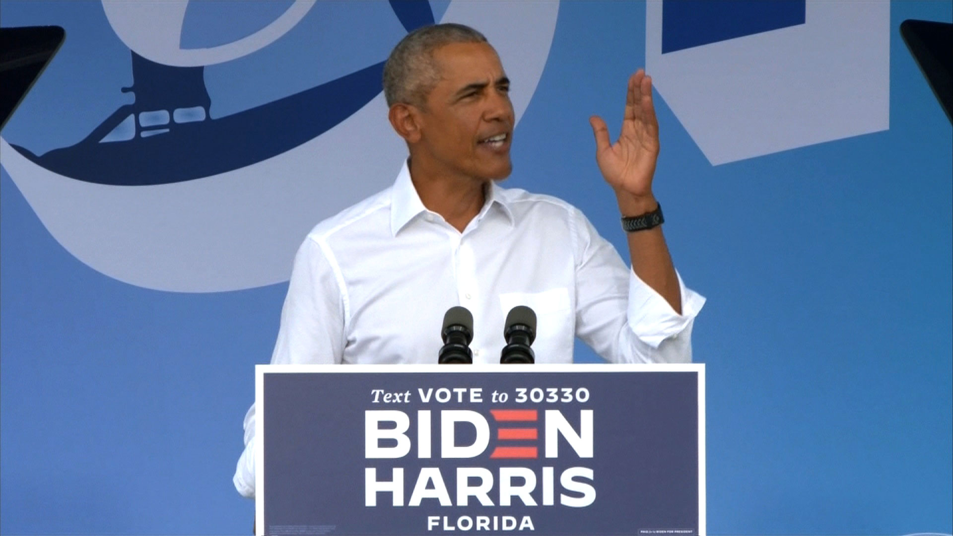 Former President Barack Obama speaks at an event for his former Vice President Joe Biden in Miami, Florida, on Saturday, October 24.