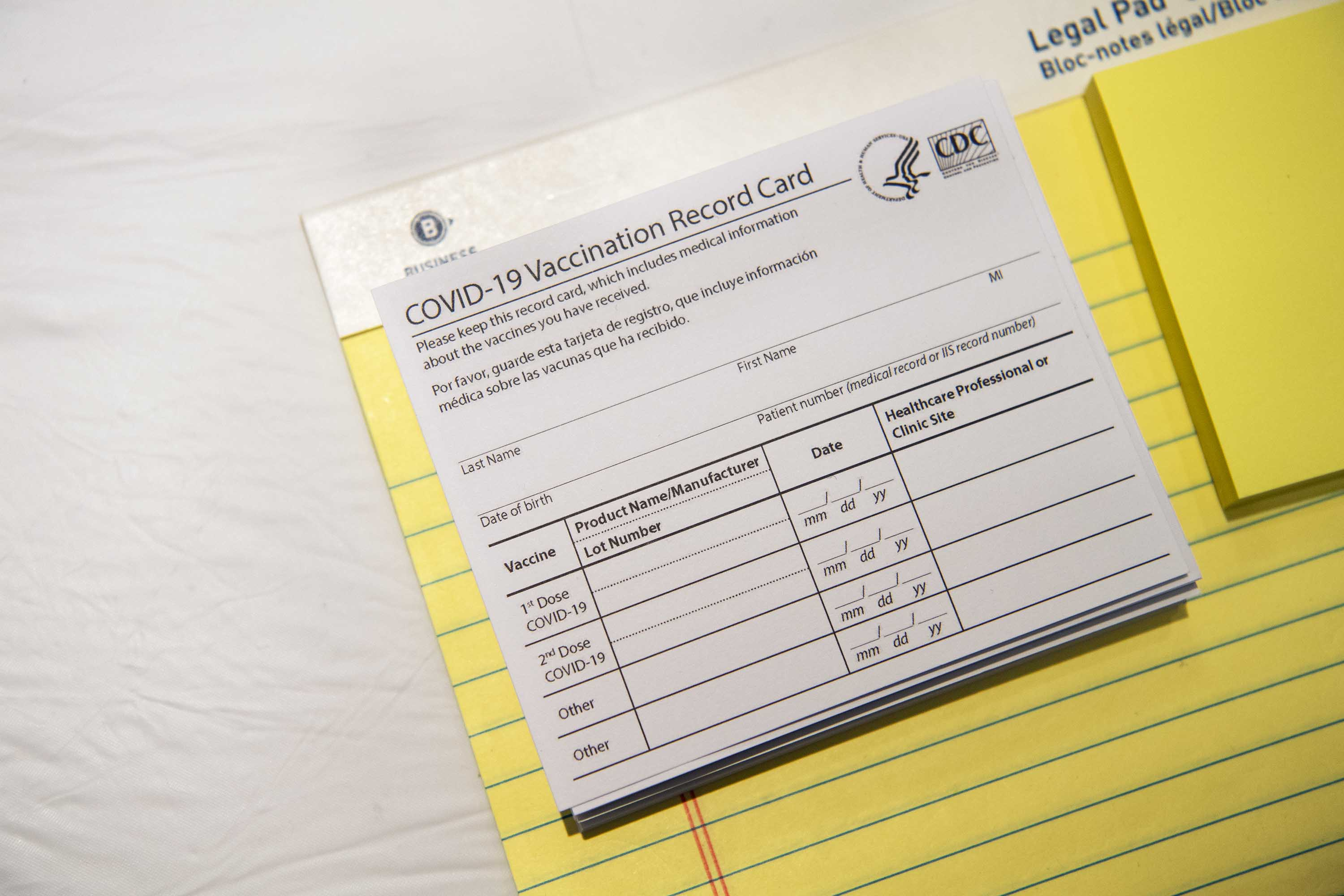 A Covid-19 vaccination record card is pictured at a vaccination site in Tysons, Virginia, on April 19.