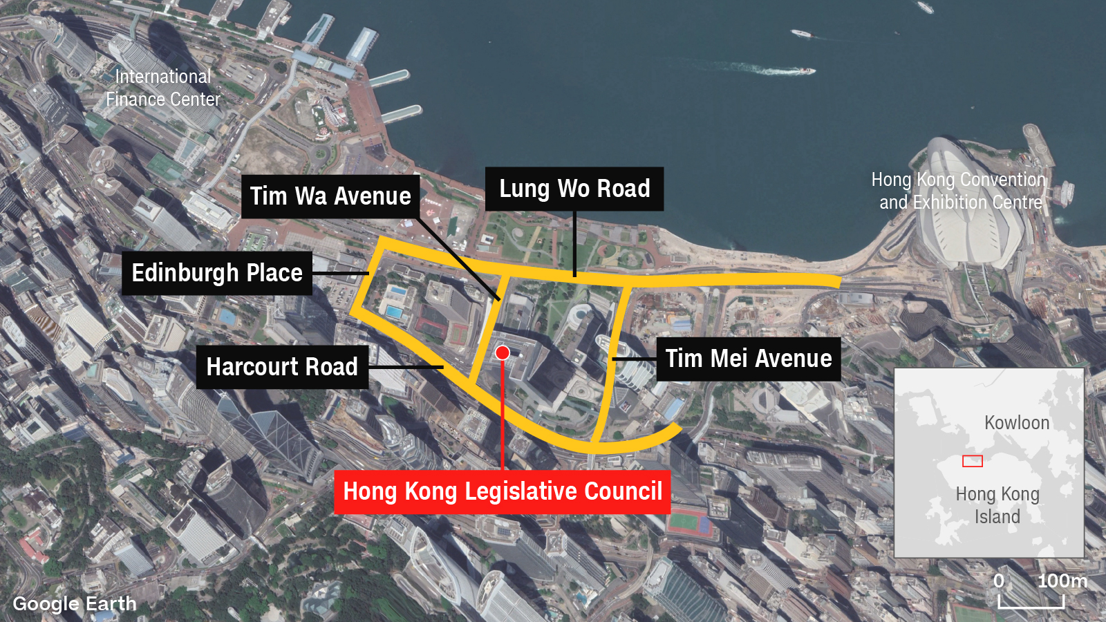 The streets surrounding Hong Kong's government headquarters are a popular route for protesters.
