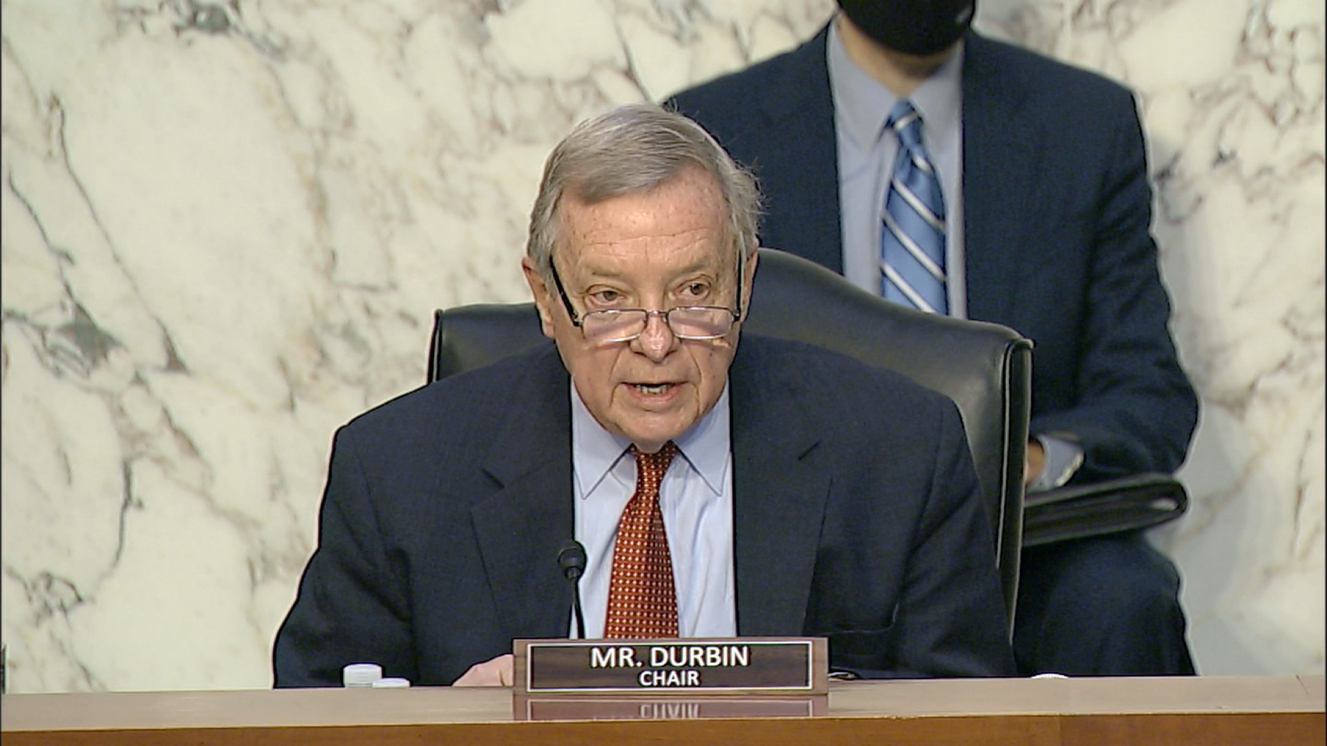 Senate Judiciary Chair Dick Durbin speaks during a hearing on gun violence in Washington, DC, on March 23.