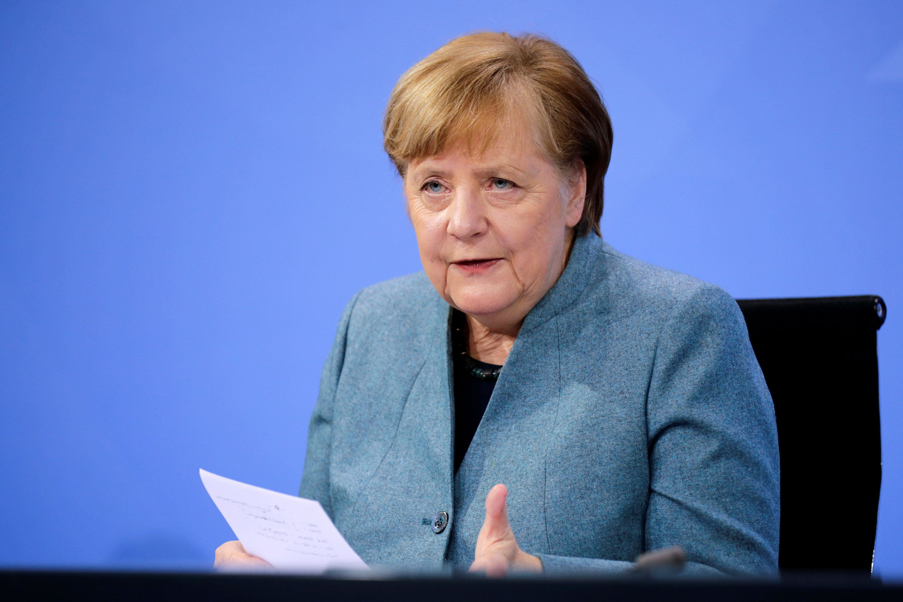 German Chancellor Angela Merkel holds a news conference in Berlin on February 1.