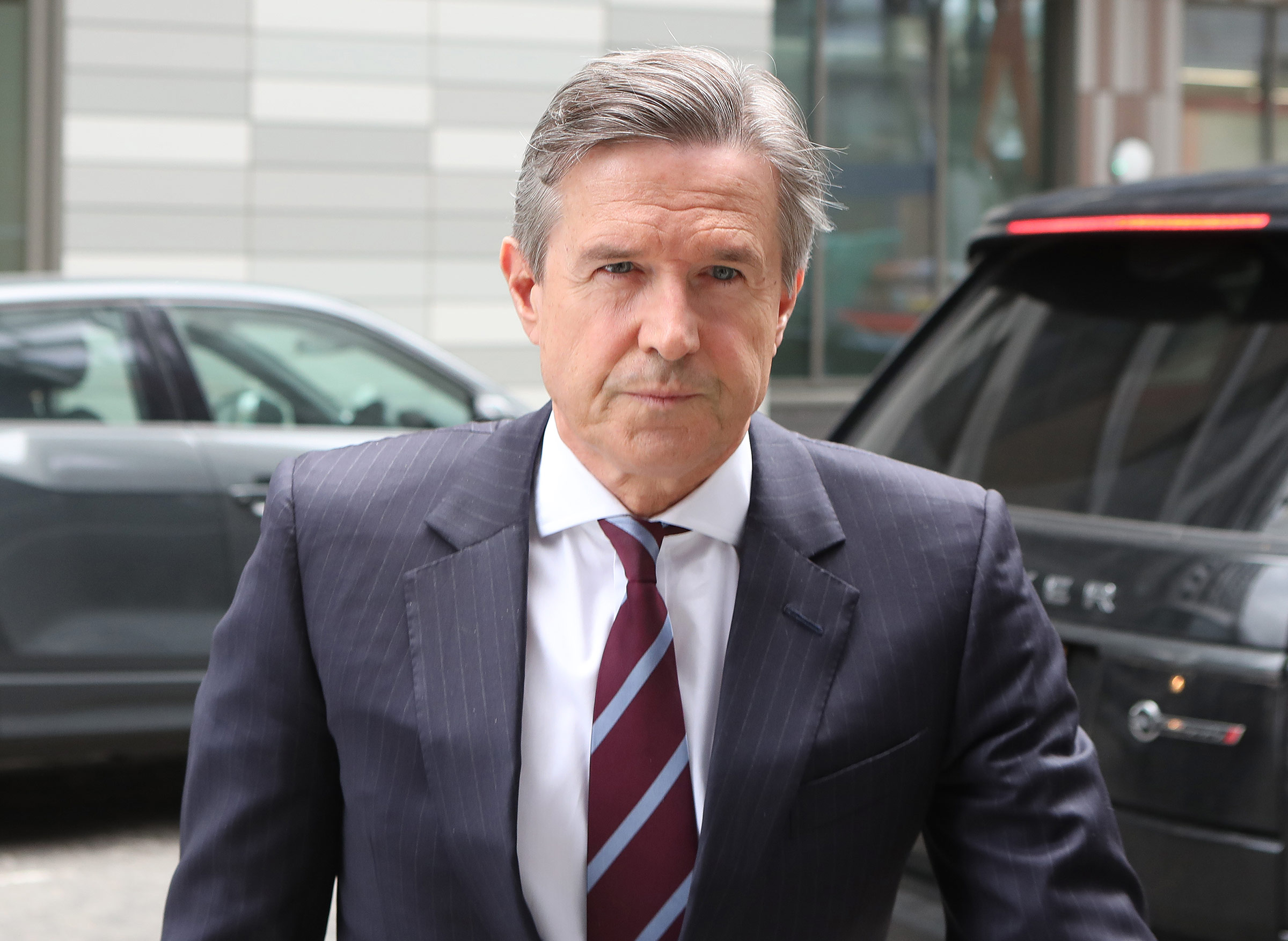 Aston Villa chief executive Christian Purslow arrives at the Premier League offices in London, on March 13, 2020.