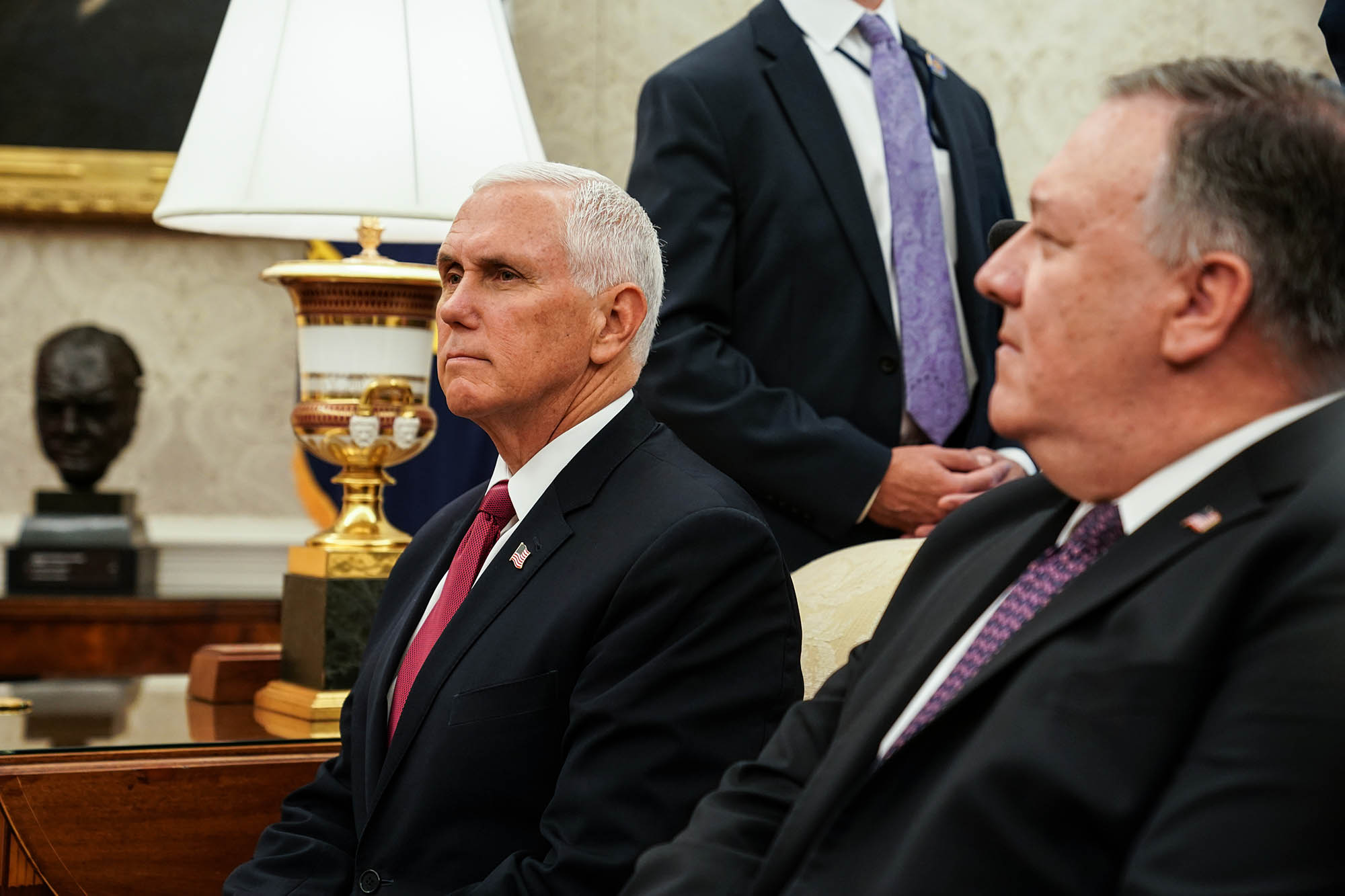 US Vice President Mike Pence listens during a meeting between US President Donald Trump and Mustafa al-Kadhimi, Iraq's prime minister, not pictured, at the White House in Washington, DC, on Thursday, August 20.
