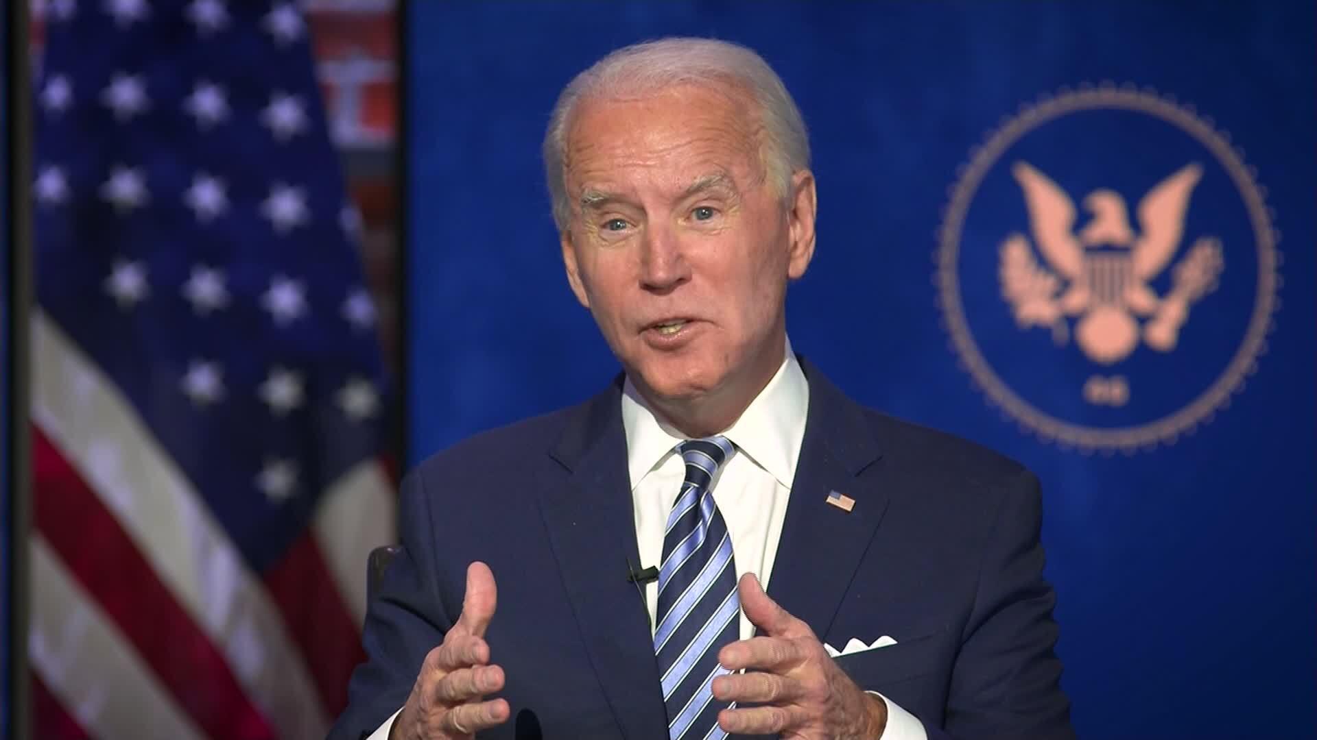 President-elect Joe Biden speaks during an interview with CNN's Jake Tapper on December 3.