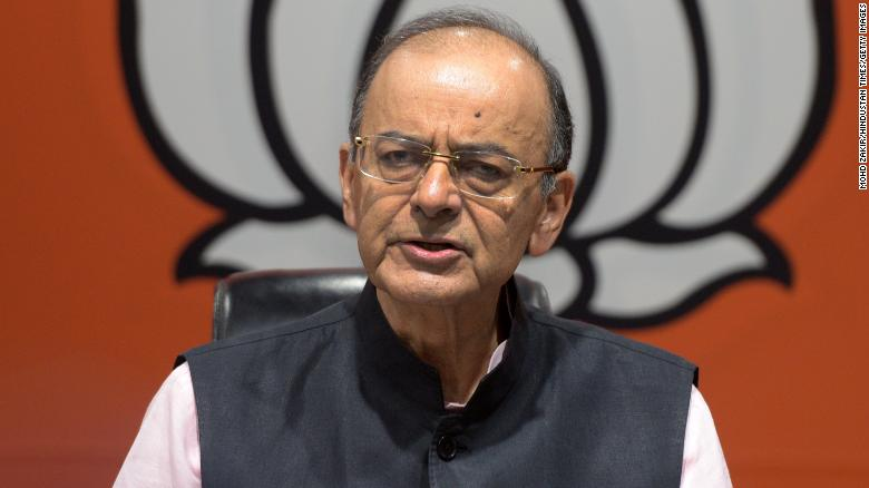 "Union Finance Minister and BJP leader Arun Jaitley called the Congress Party manifesto would ""break the country,"" at BJP headquarters on April 2, 2019 in New Delhi, India."
