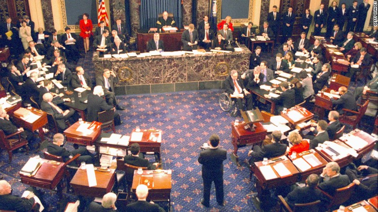 The Clinton impeachment trial on the Senate floor on February 12, 1999.
