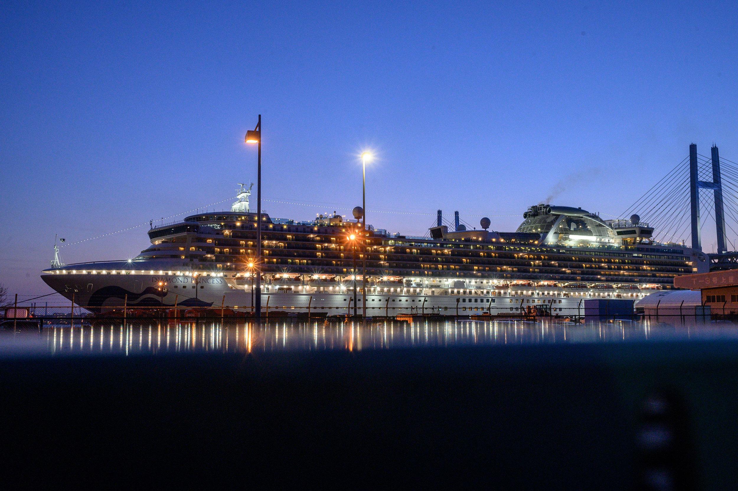 The Diamond Princess cruise ship docked in Yokohama, Japan, on February 24.