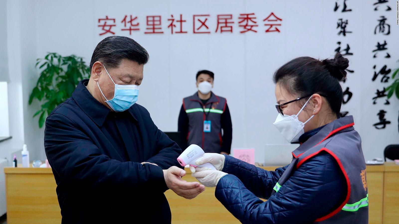 Chinese President Xi Jinping visits a coronavirus testing center in Beijing.