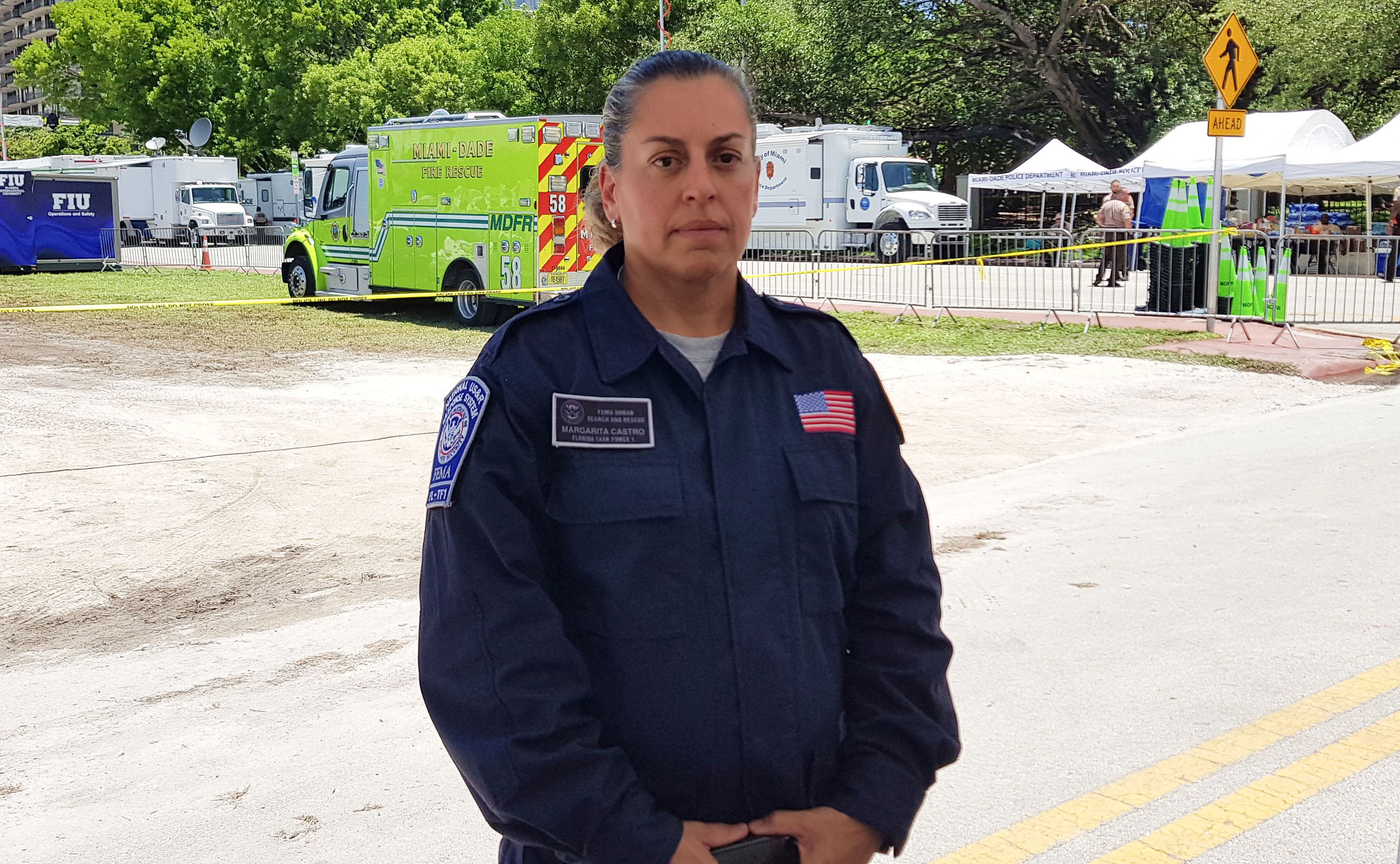 Maggie Castro, spokeswoman with Miami-Dade Fire and Rescue, poses on Sunday, June 27, in Surfside.