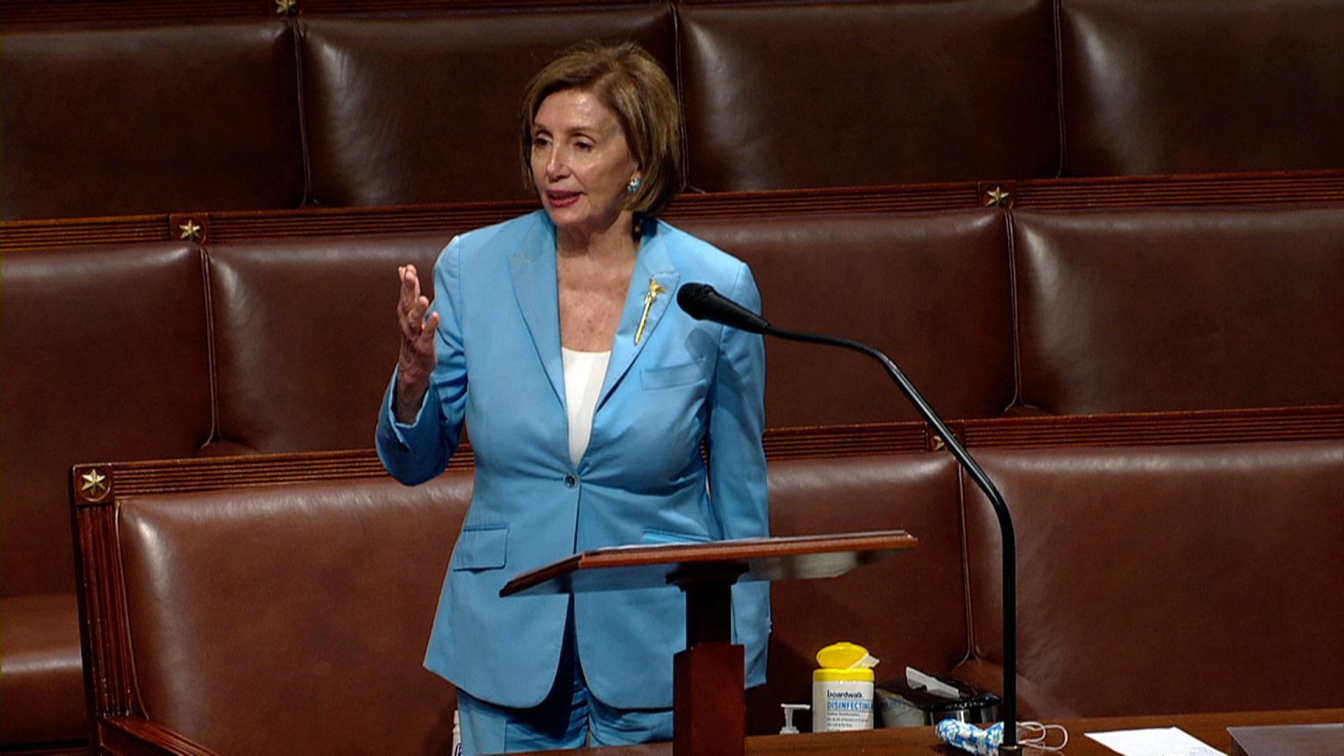 House Speaker Nancy Pelosi speaks on the House floor on Wednesday, May 19, in Washington, DC.