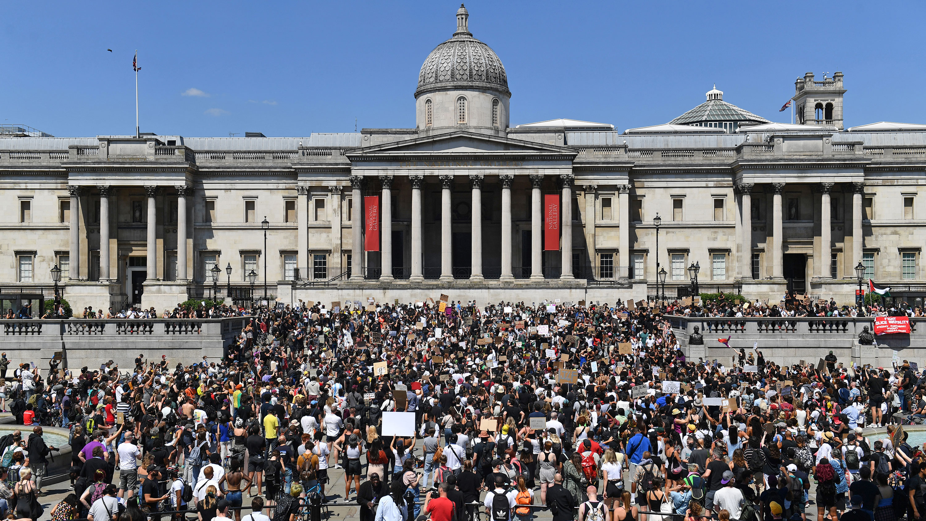 People gather in Trafalgar Square in London to take part in a Black Lives Matter protest on May 31.
