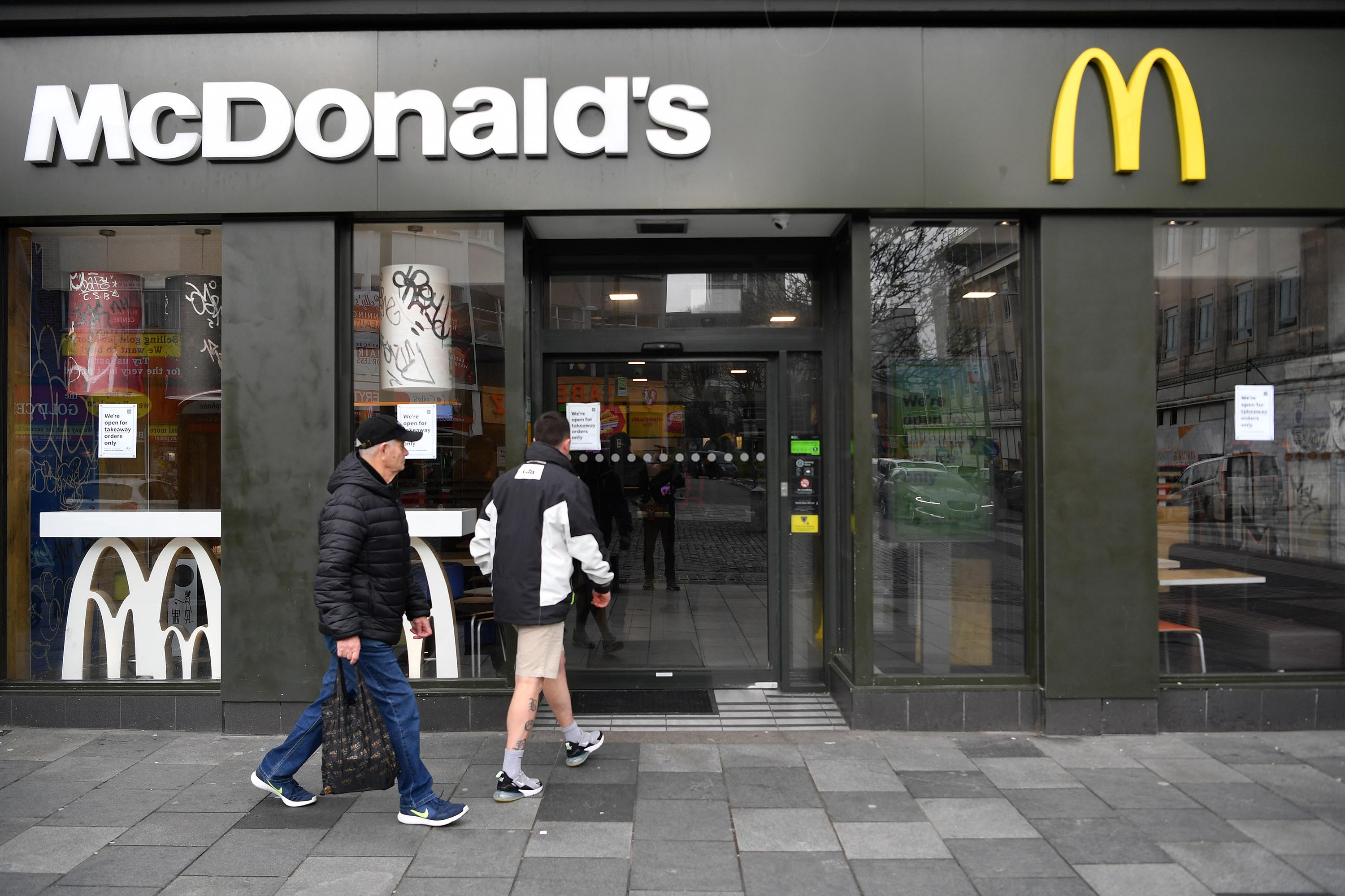 A McDonalds restaurant is pictured in Plymouth, England, on March 19.
