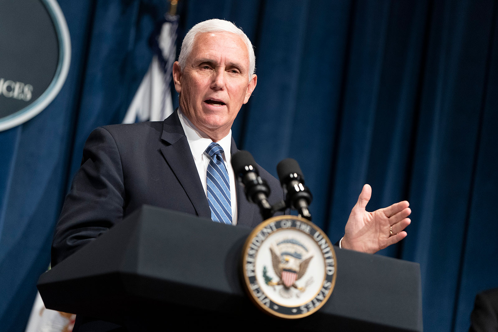 Vice President Mike Pence speaks during a coronavirus task force briefing in Washington, DC, on June 26.
