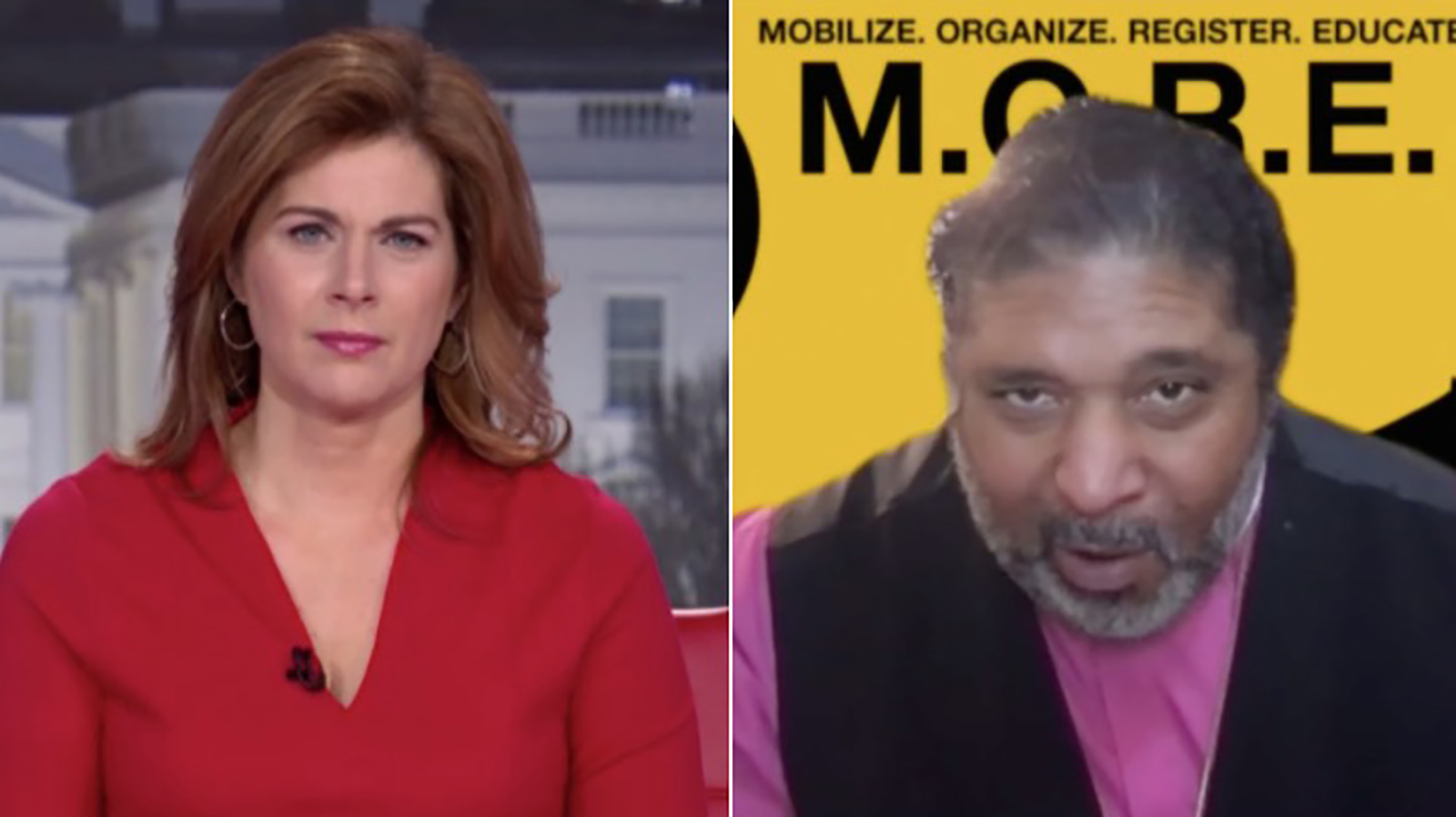 CNN's Erin Burnett and Rev. William Barber.