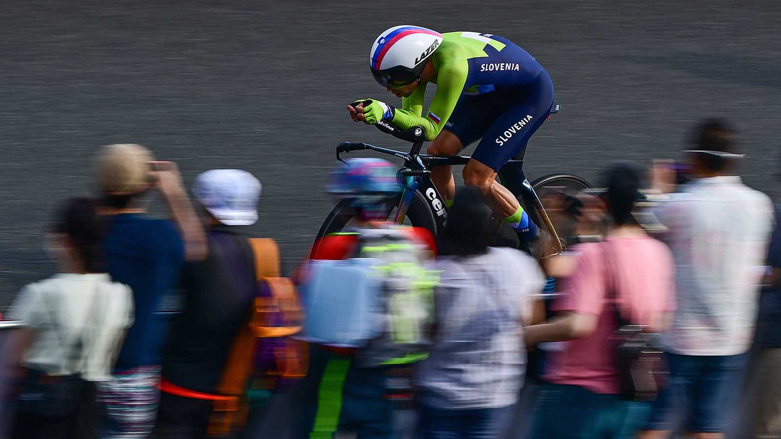 Primoz Roglic of Slovenia competes in the men's cycling road individual time trial in Oyama, Japan, on July 28.