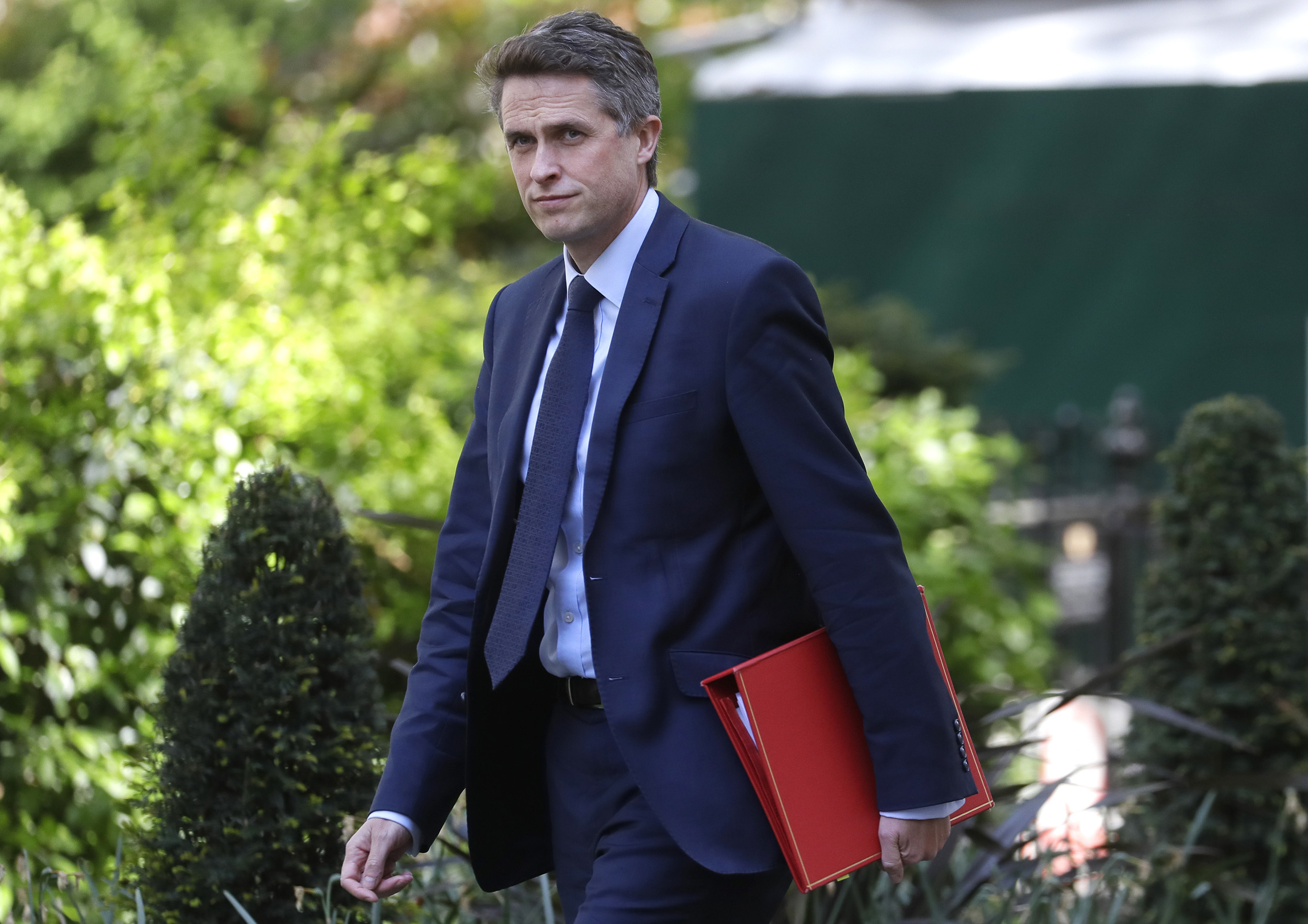 Britain's Education Secretary Gavin Williamson arrives in Downing Street in London on Friday, May 1.