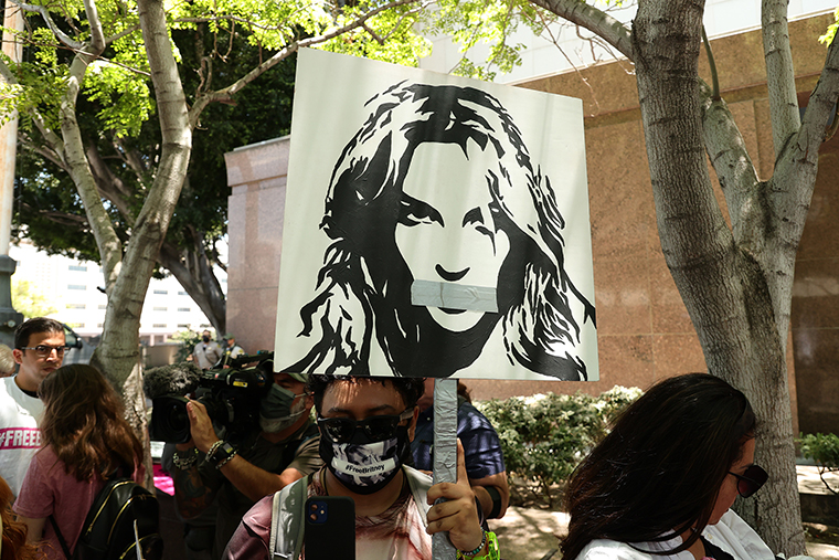 #FreeBritney activists protest at Los Angeles Grand Park during a conservatorship hearing for Britney Spears on Wednesday, June 23, 2021 in Los Angeles.