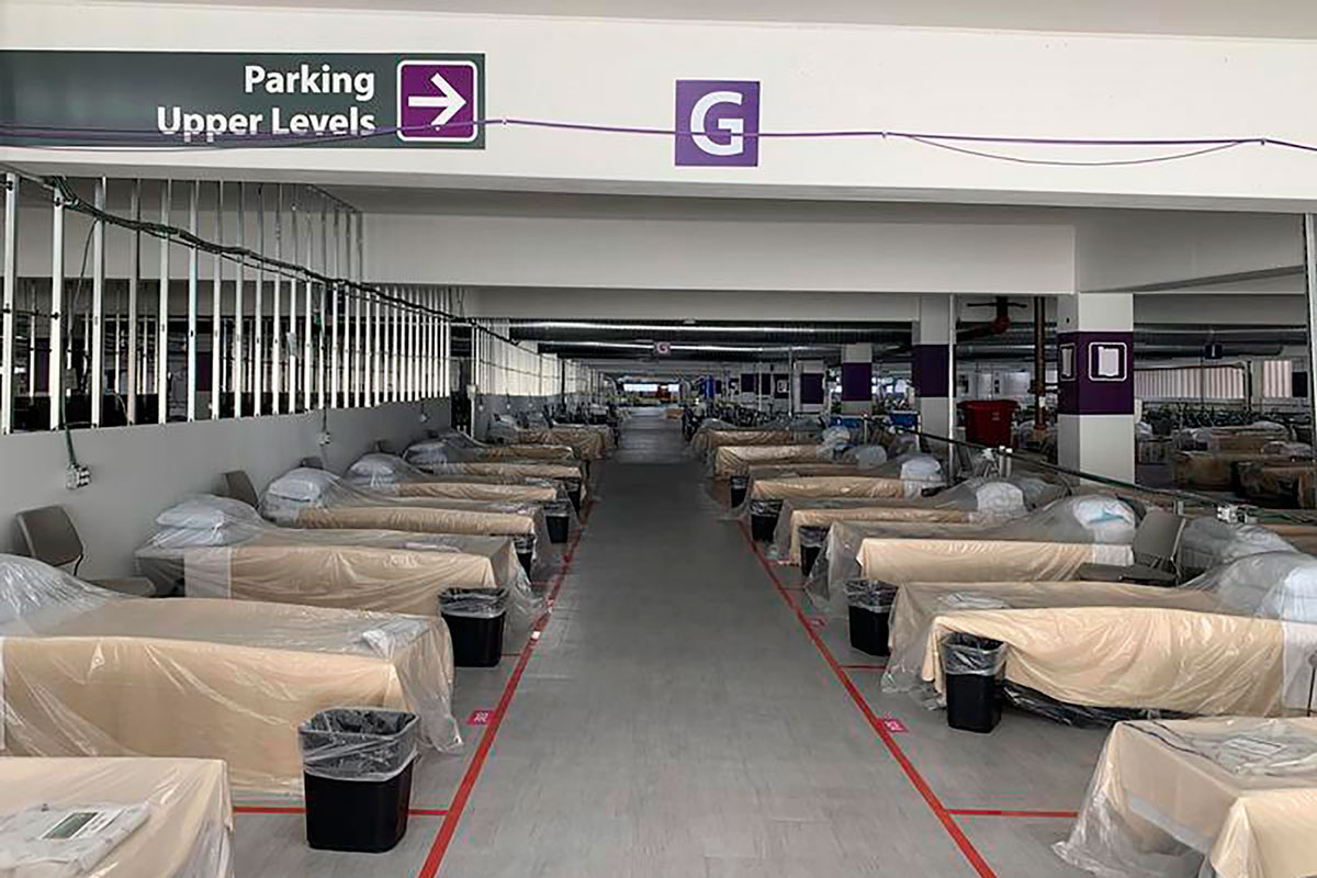Hospital beds sit inside Renown Regional Medical Center's parking garage, which has been transformed into an alternative care site for Covid-19 patients in Reno, Nevada on November 11.